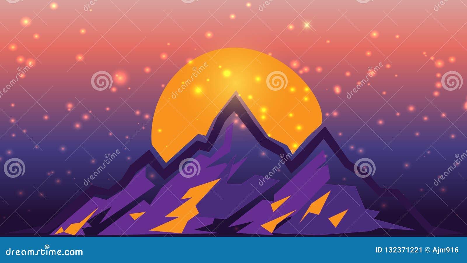 Surreal Berg scape bij Zonsondergang met gloed en lichten Vlakke ontwerp vectorillustratie Purple en sinaasappel