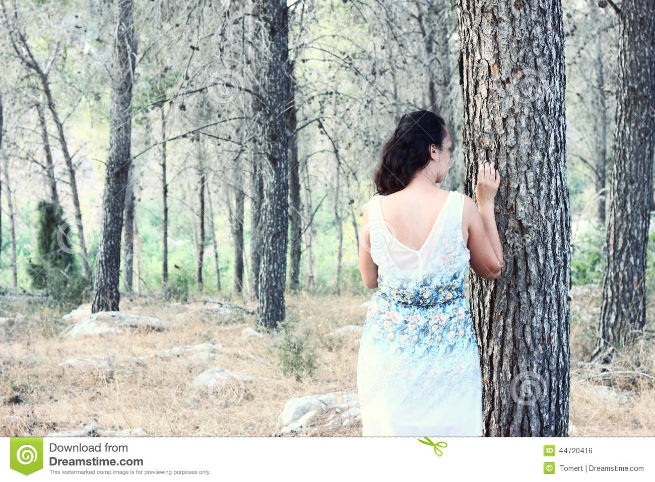 Surreal Blurred Background Of Young Woman Stands In Forest ...