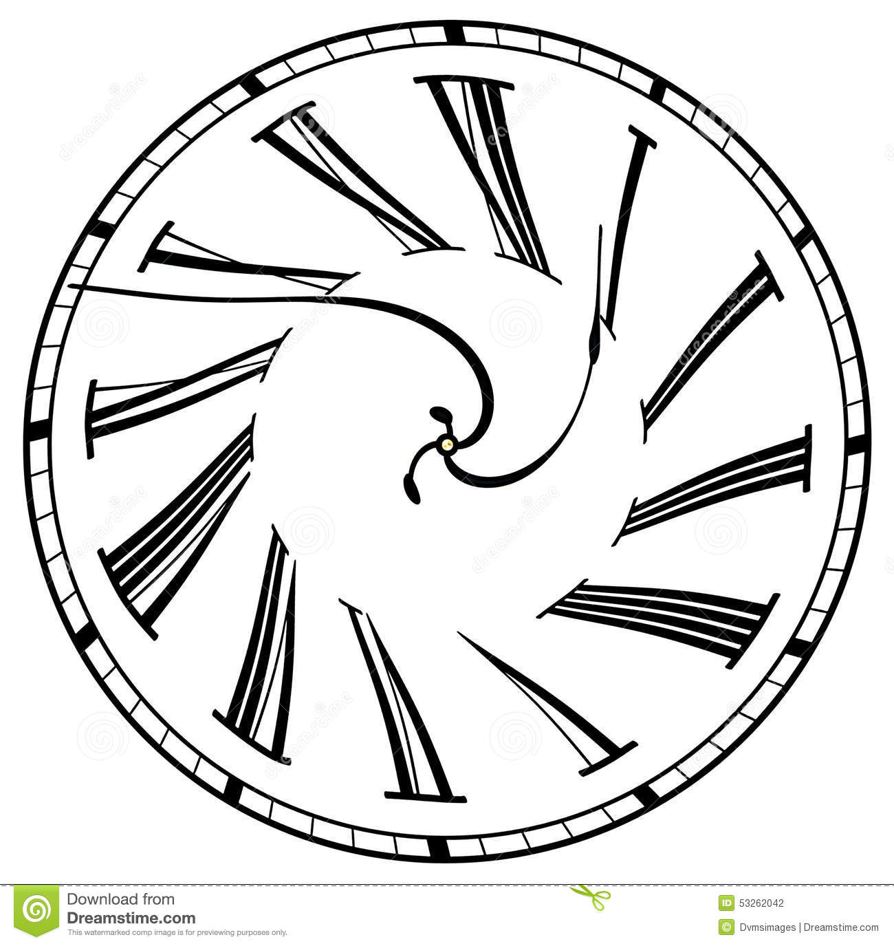 Line Drawing Clock Face : Surreal clock face stock illustration image of wheel