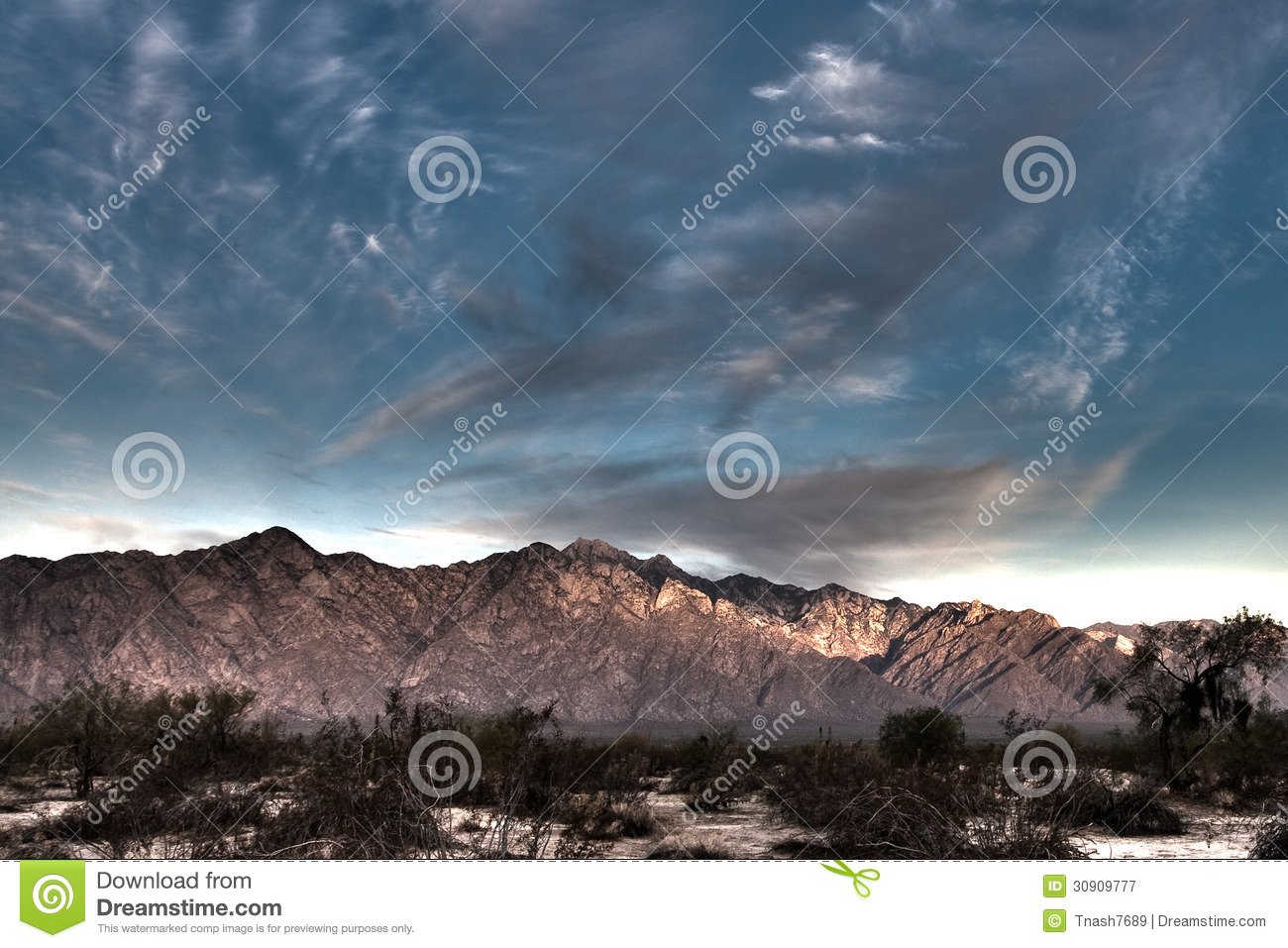 Early Morning In The Baja Desert Photograph of Mountains and Sky Early Morning Sky Mountains