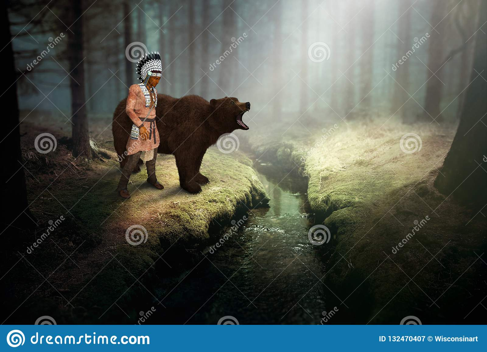 Native American Indian, Grizzly Bear, Nature, Wildlife