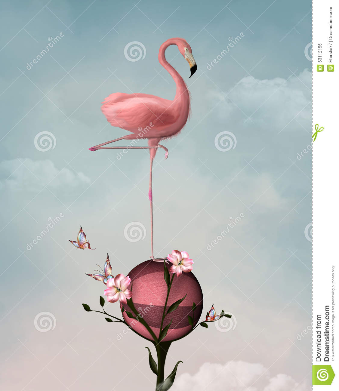 Surreal flamingo