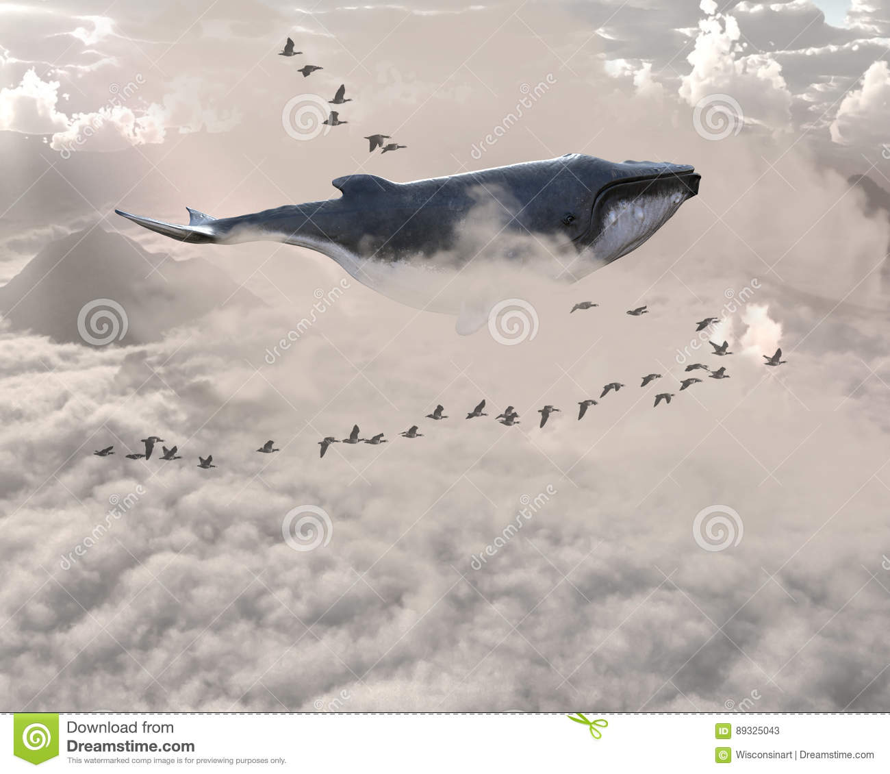 Surreal Flying Whale, Birds, Sky