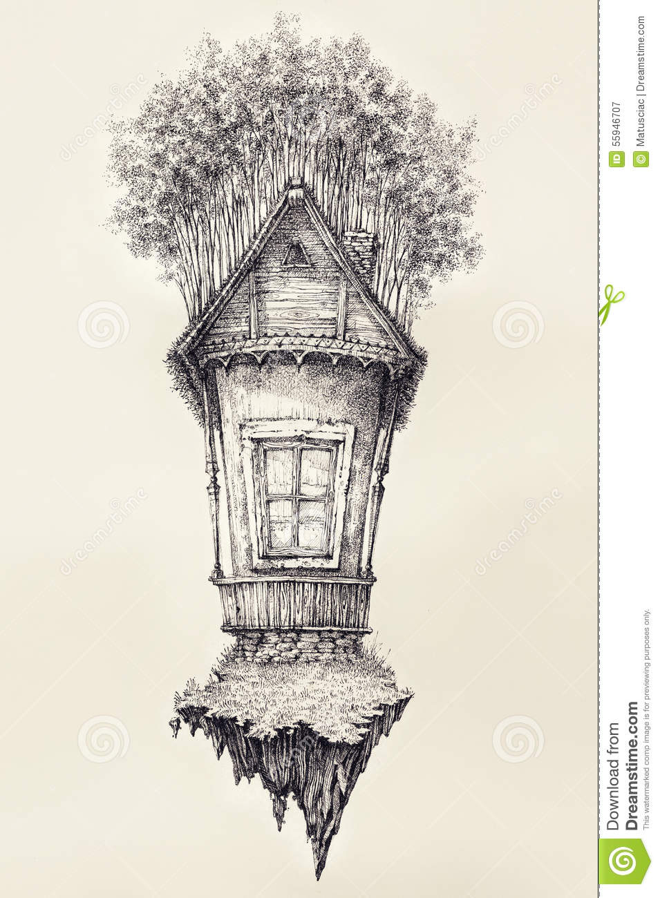 Royalty Free Stock Photography Surreal Hand Drawing Of A