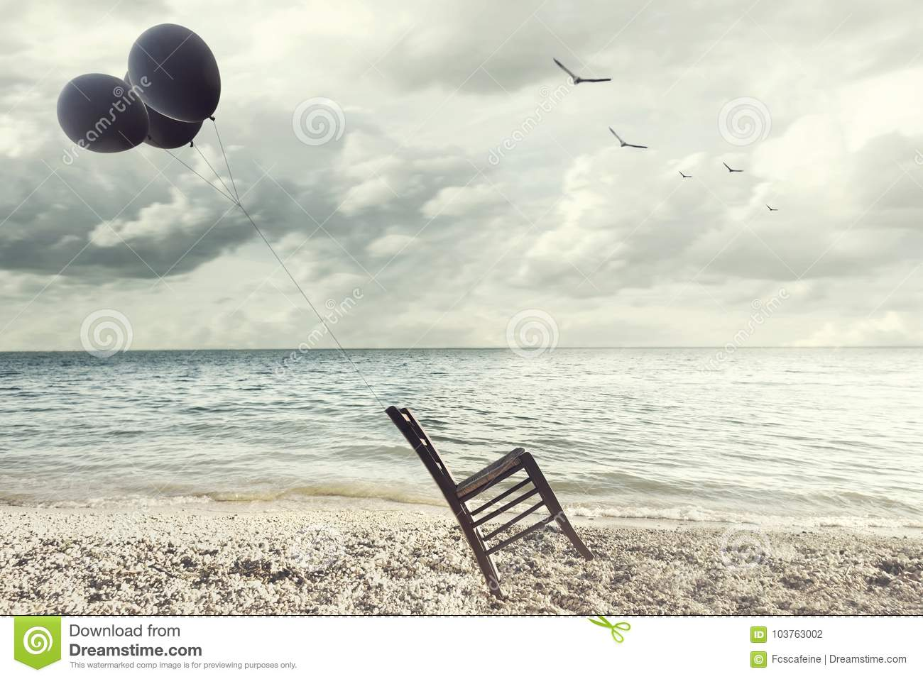 Superb Surreal Image Of A Chair Held In Balance By Flying Balloons Squirreltailoven Fun Painted Chair Ideas Images Squirreltailovenorg