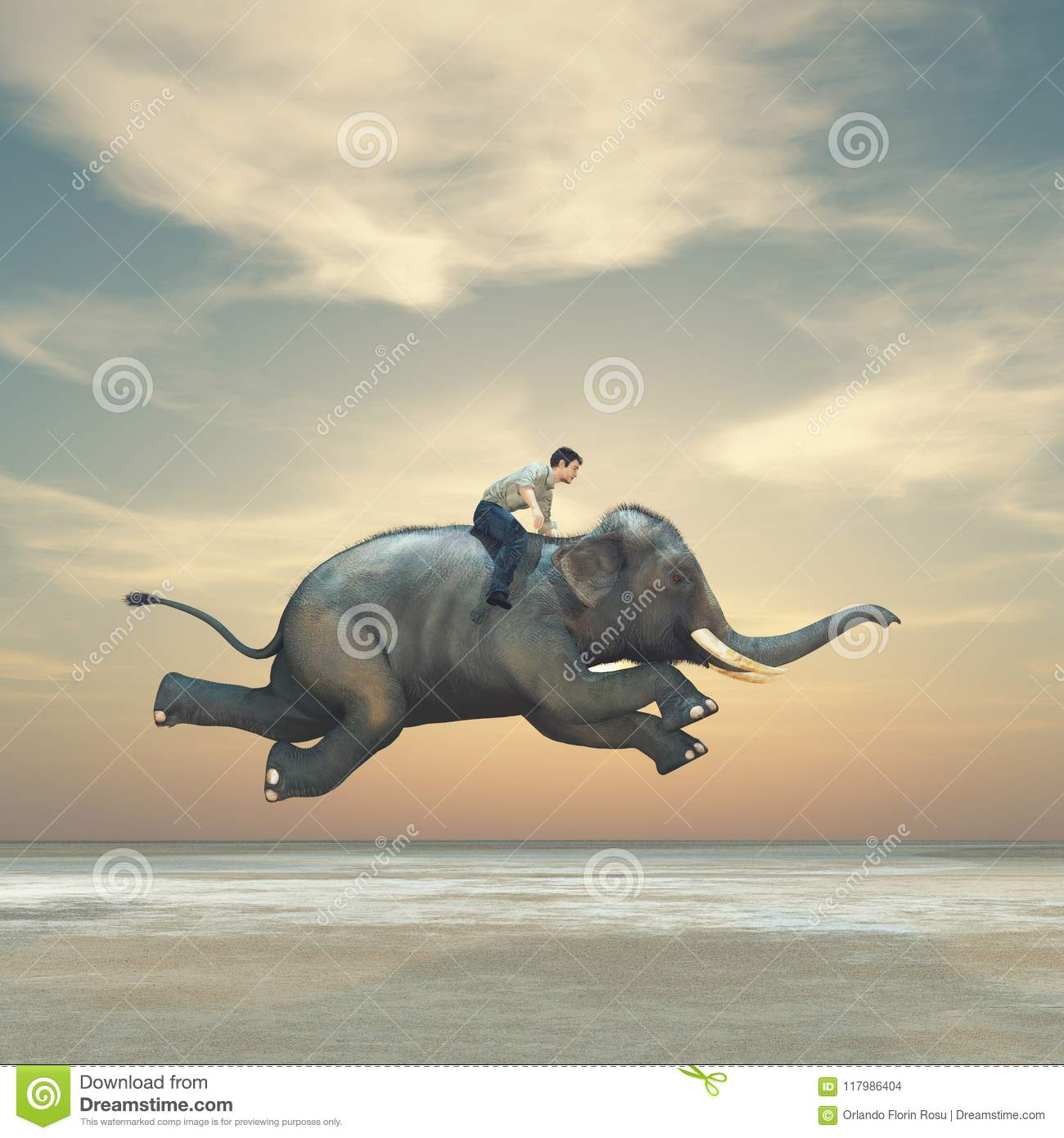 Download Surreal Image Of A Man Riding An Elephant Stock Illustration - Illustration of concept, pointing: 117986404