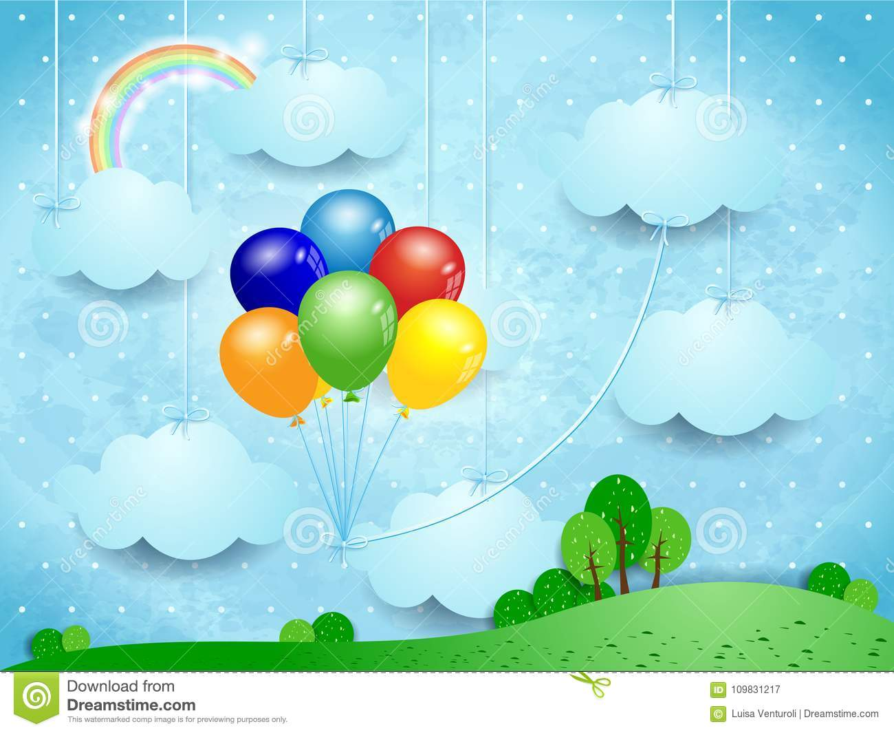 Surreal landscape with hanging clouds and balloons