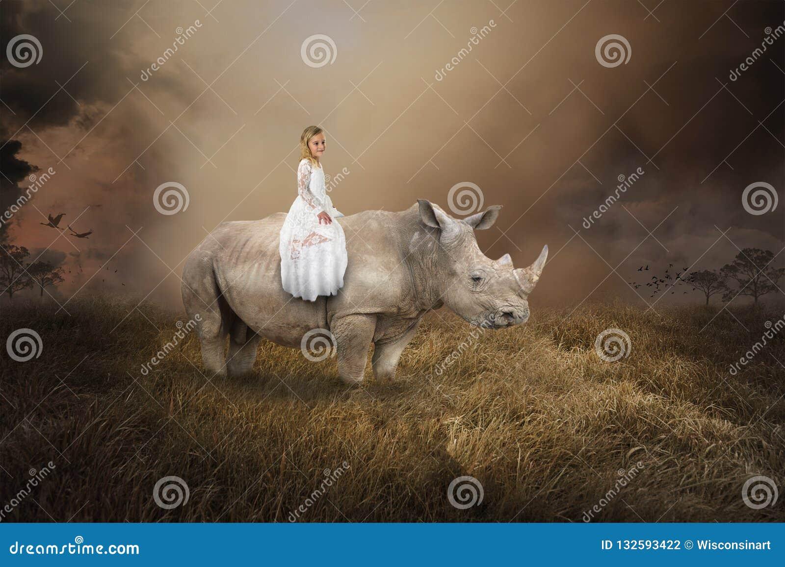 Surreal Meisjes Berijdende Rinoceros, Rinoceros, het Wild