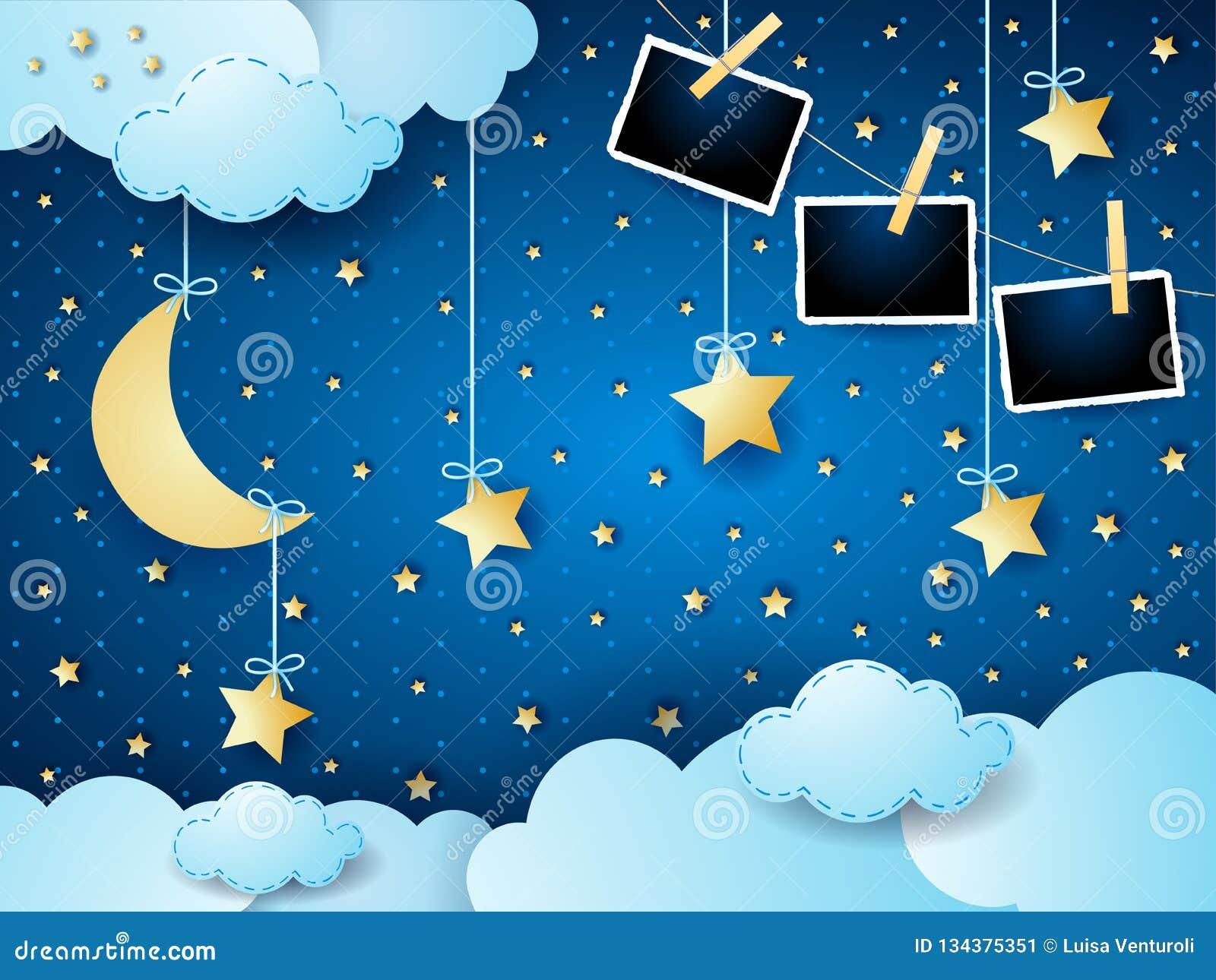Surreal nacht met maan, hangende sterren en fotokaders