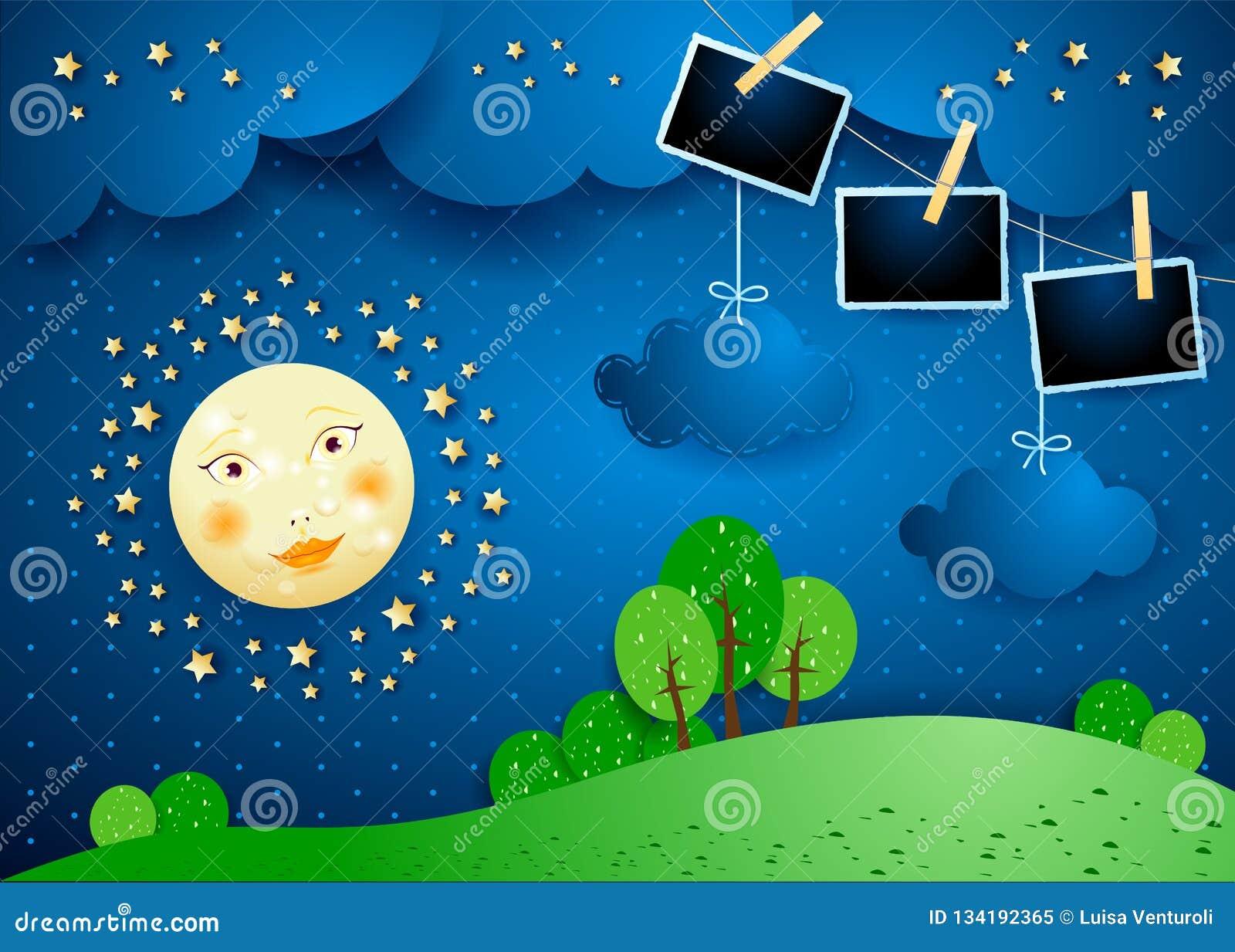 Surreal nacht met maan, hangende wolken en fotokaders