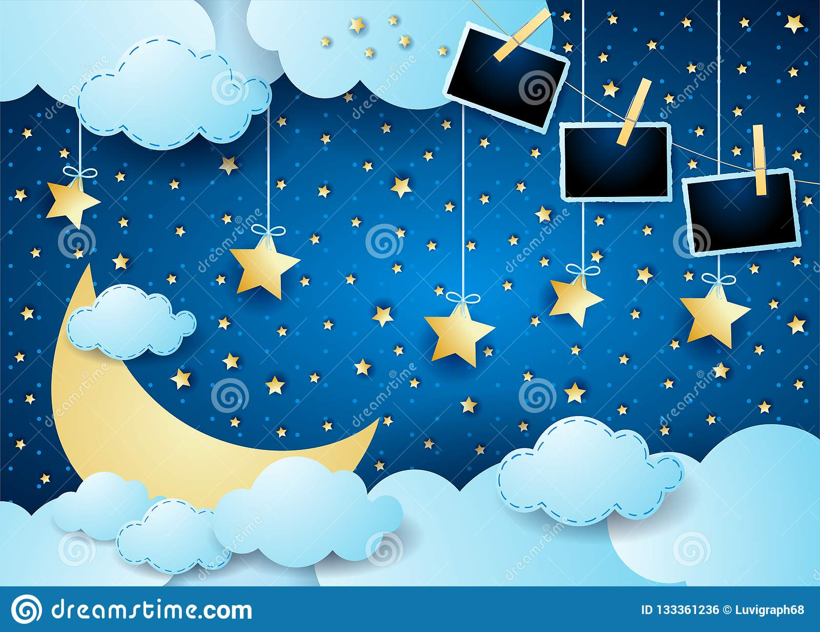 Surreal nacht met maan, wolken, hangende sterren en fotokaders