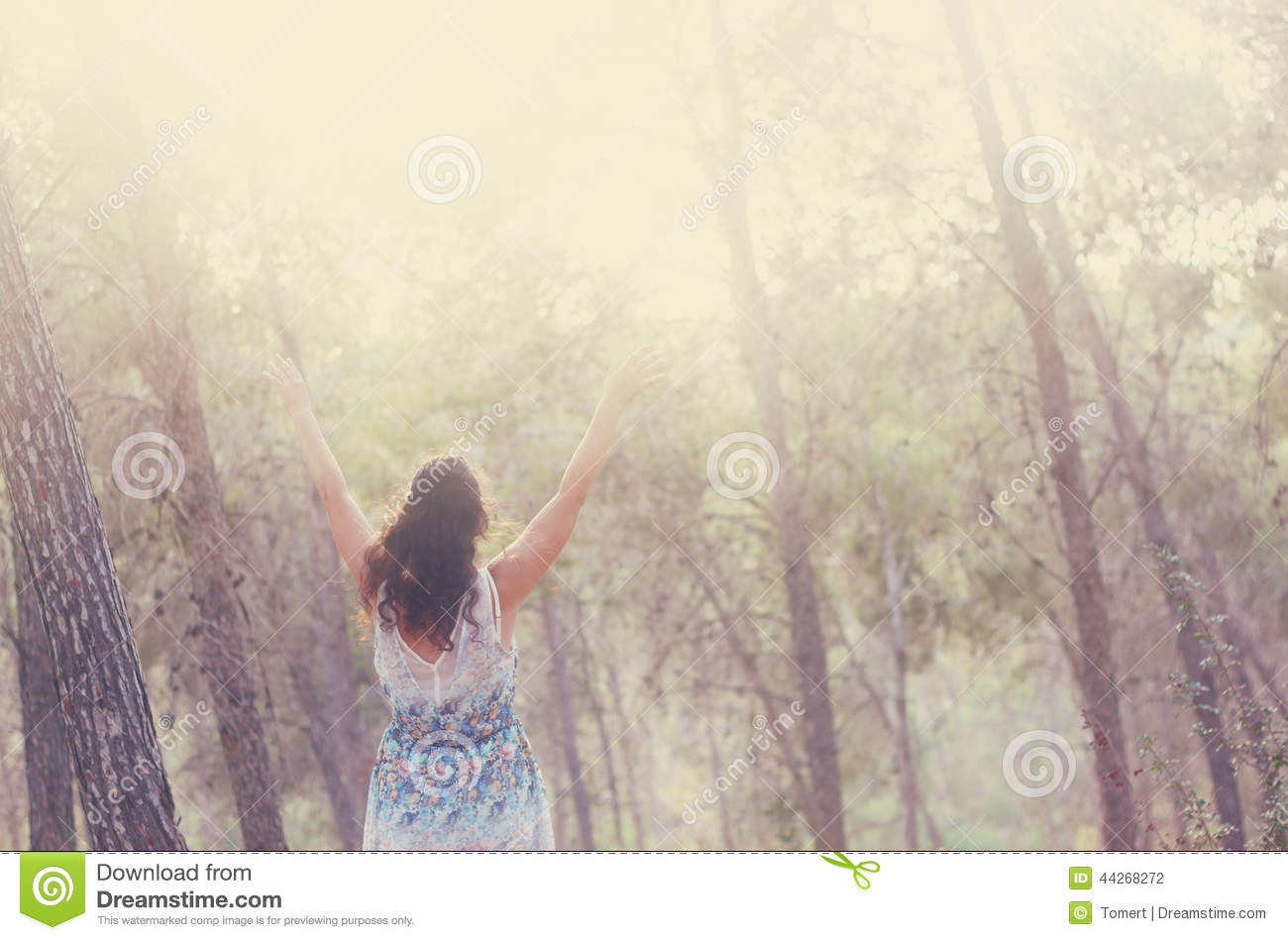 Surreal Photo Of Young Woman Standing In Forest. Image Is ...