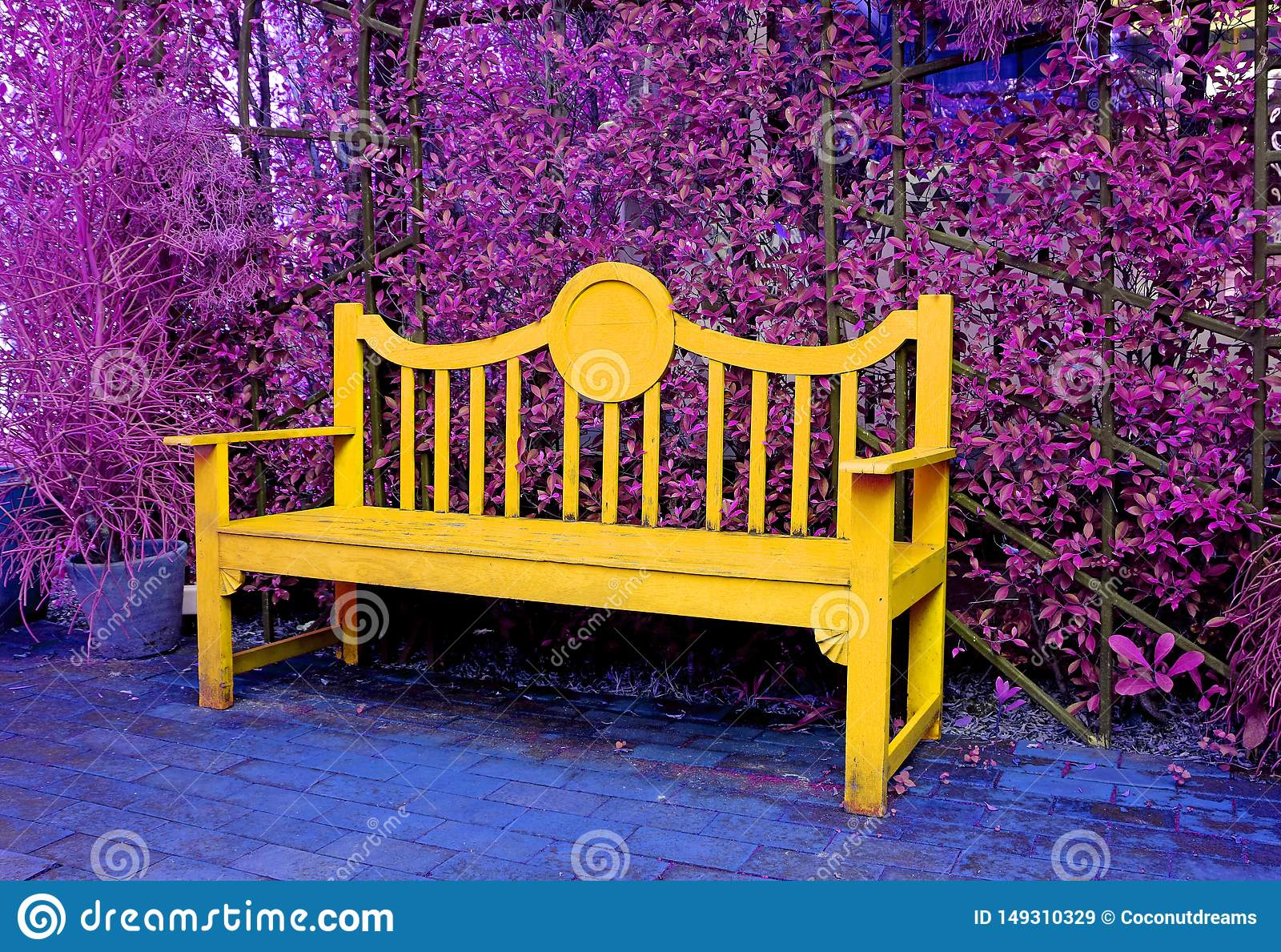 Groovy Surreal Pop Art Style Yellow Wooden Bench In Purple Colored Gmtry Best Dining Table And Chair Ideas Images Gmtryco