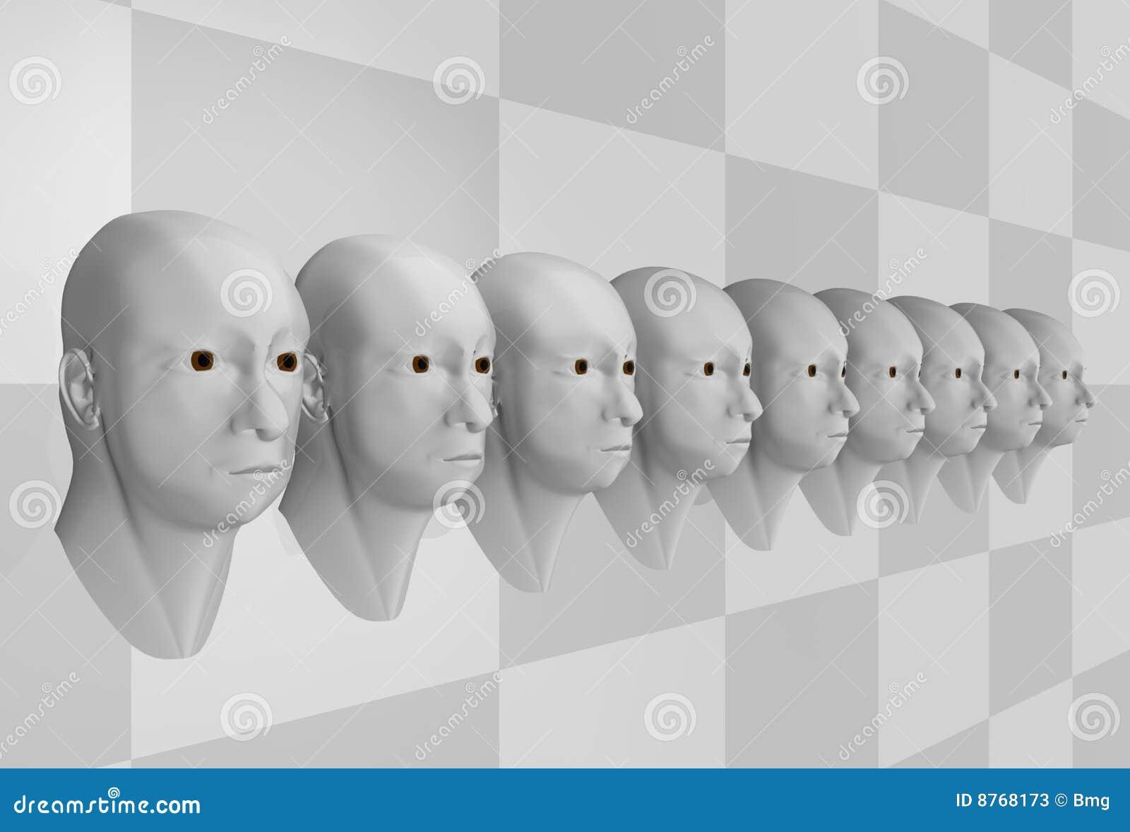 Surreal portrait of men