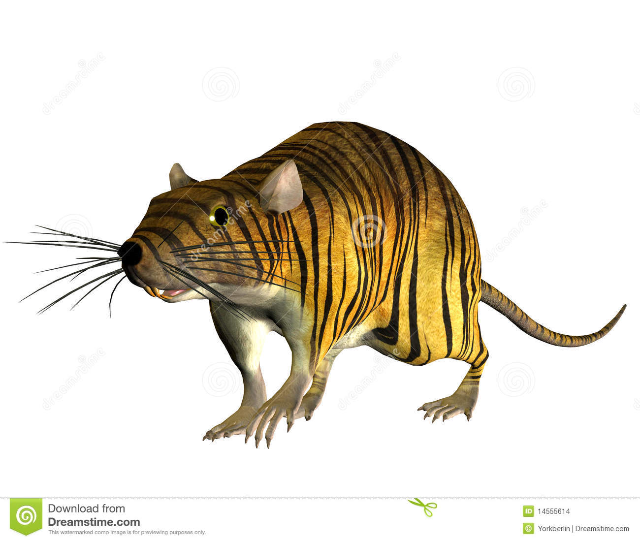 3D rendering of a surreal look Tiger in the rat