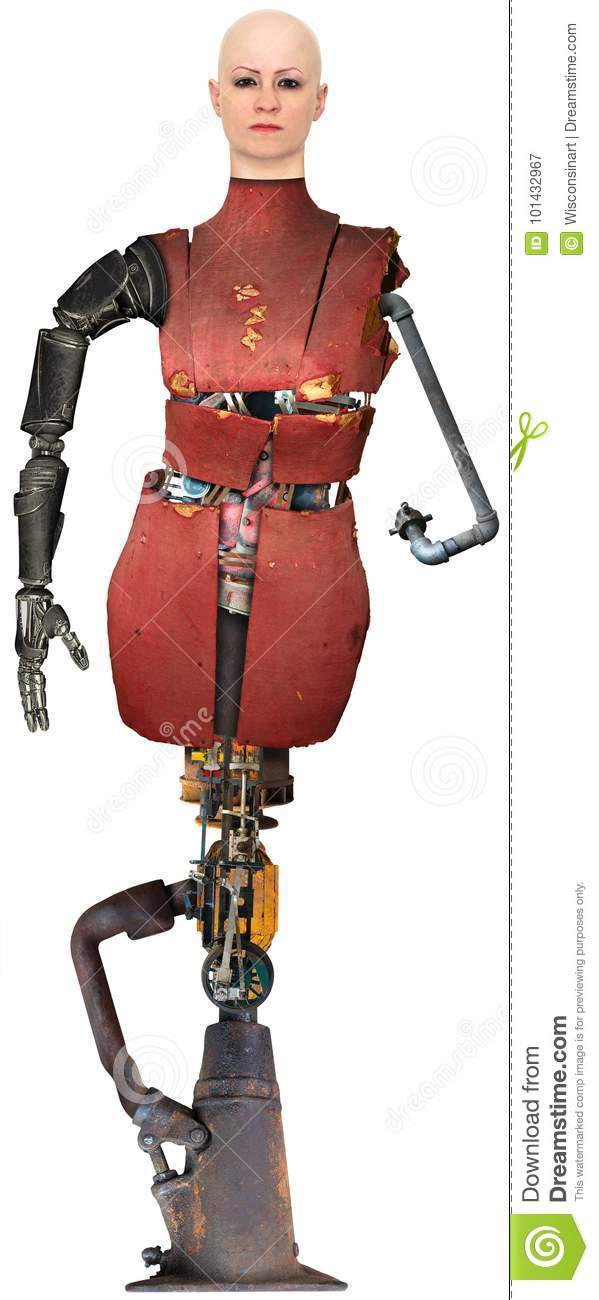 Surreal Robot Technology Woman Isolated