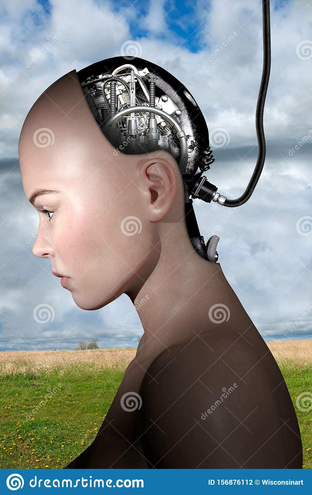 Surreal Science Fiction Robot Woman