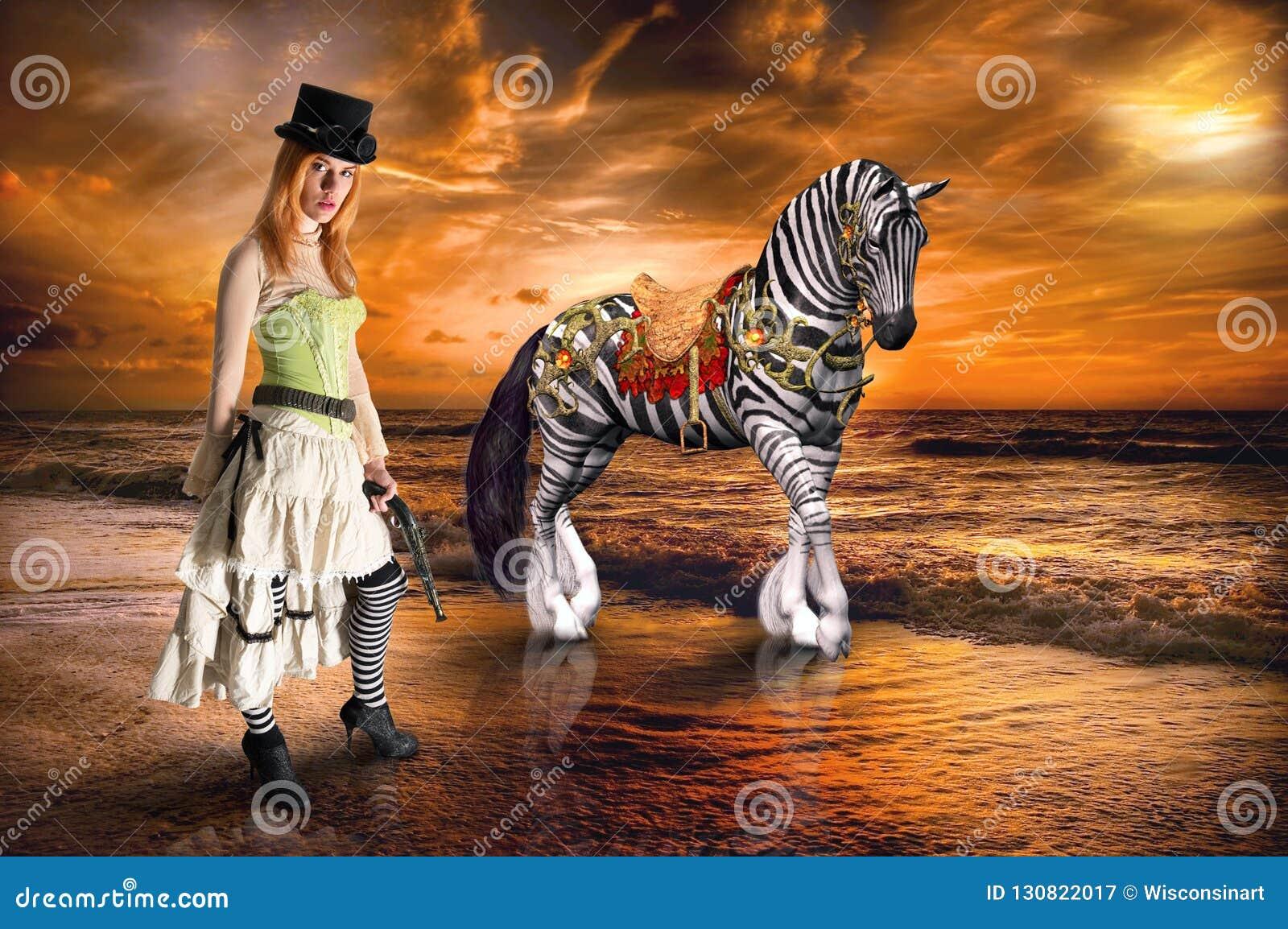 Surreal Steampunk Woman, Zebra, Fantasy, Imagination