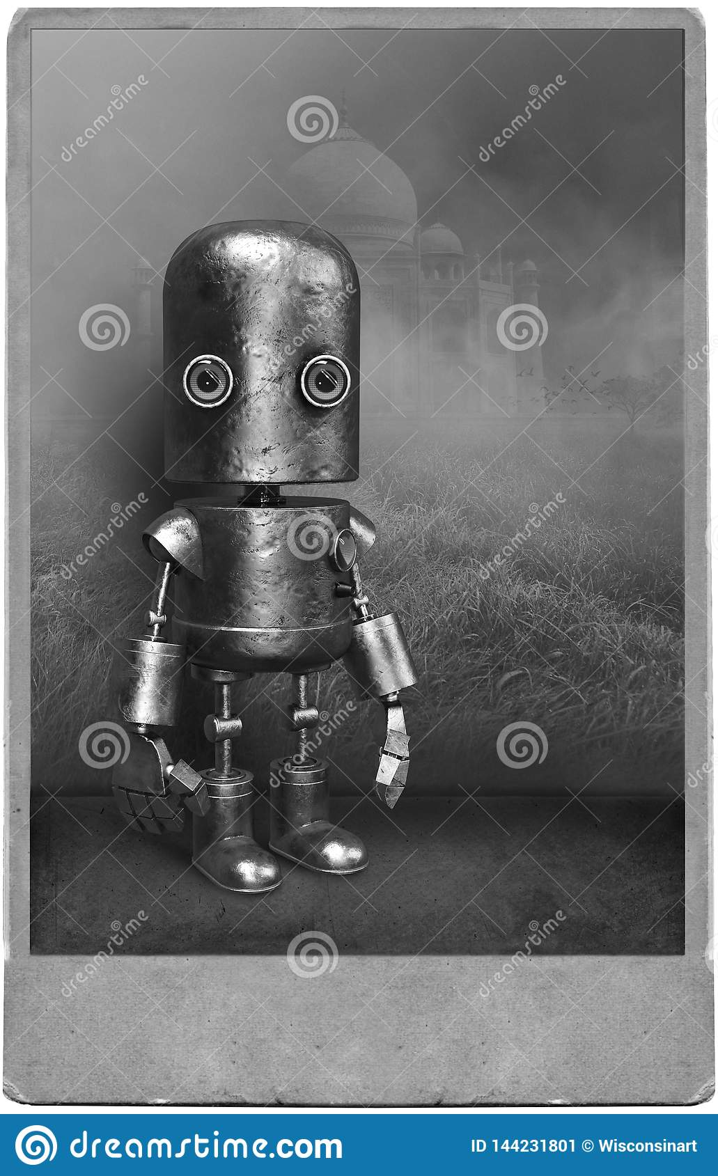 Surreal Vintage Robot Portrait, Mechanical Man