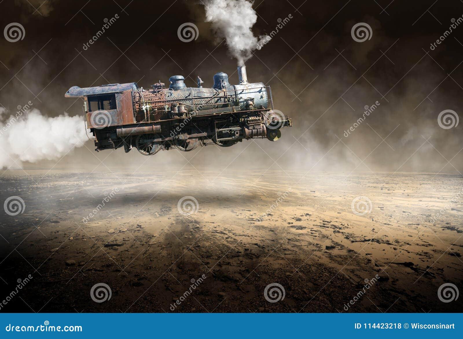Surreal Vintage Train Locomotive, Flying