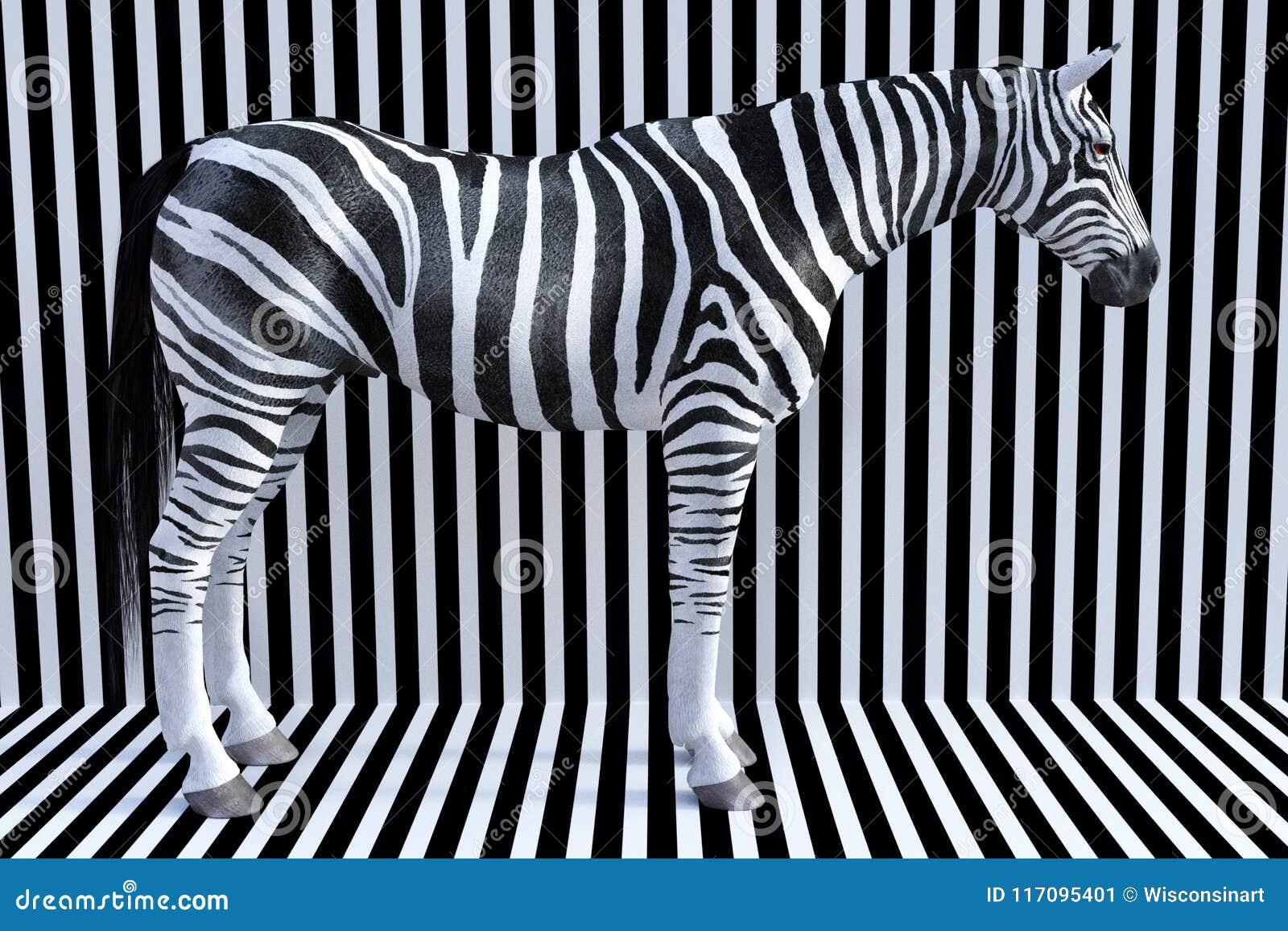 Surreal Zebra Stripes Wildlife Animal Nature Stock Image