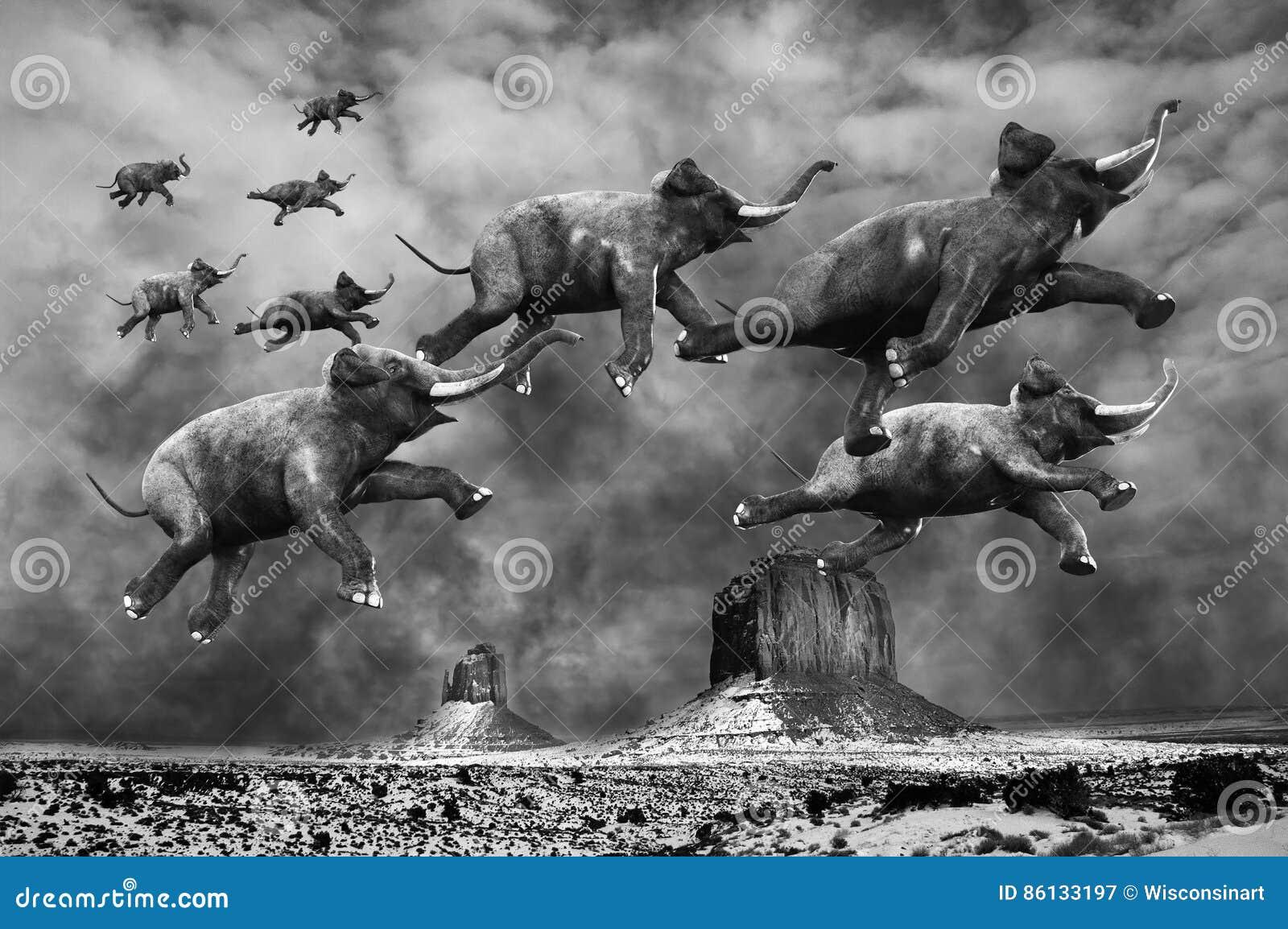 Surreale Fliegen-Elefanten