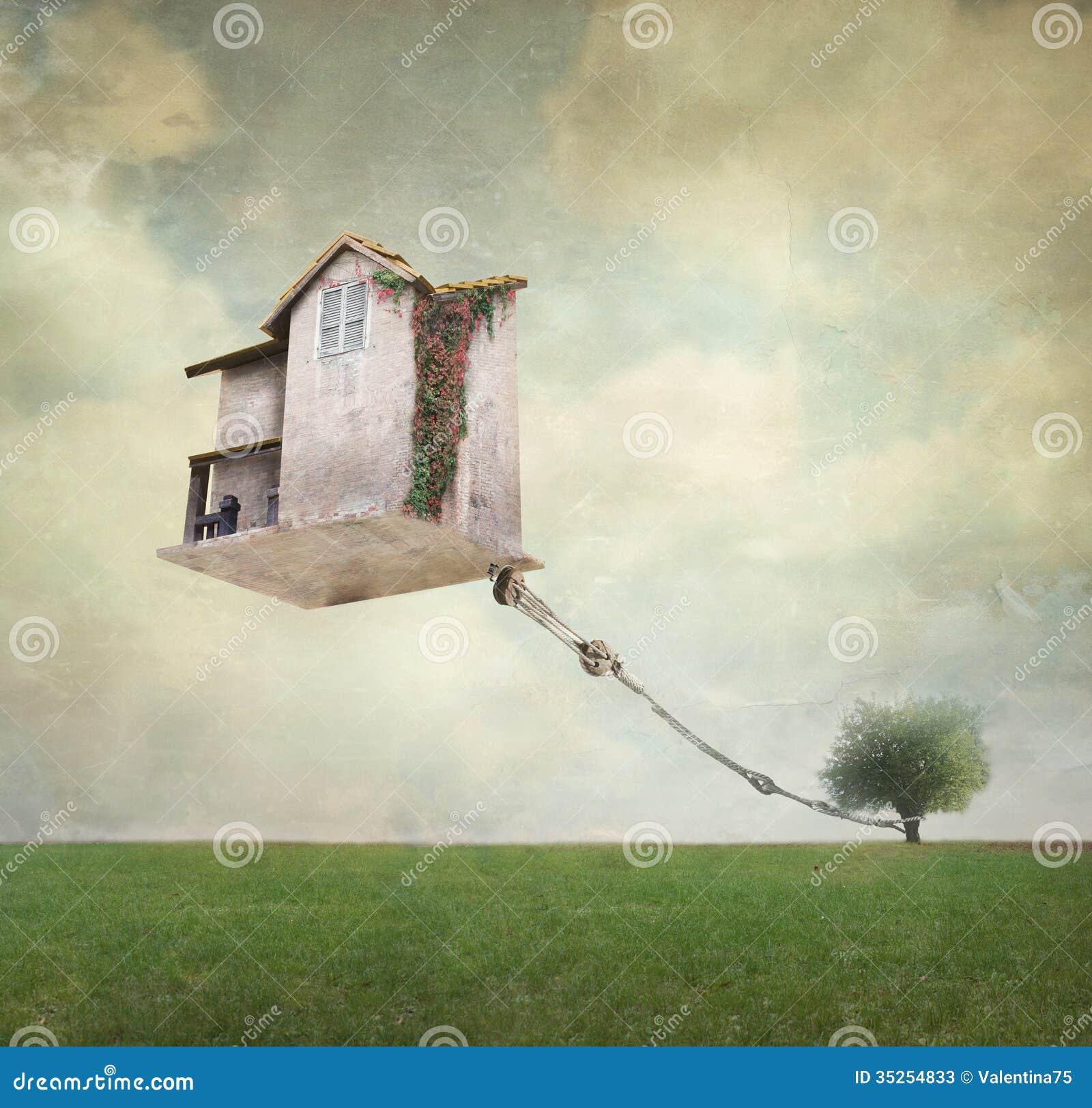 Haus Bild: Surreales Haus Stock Abbildung. Bild Von Traum, Seil