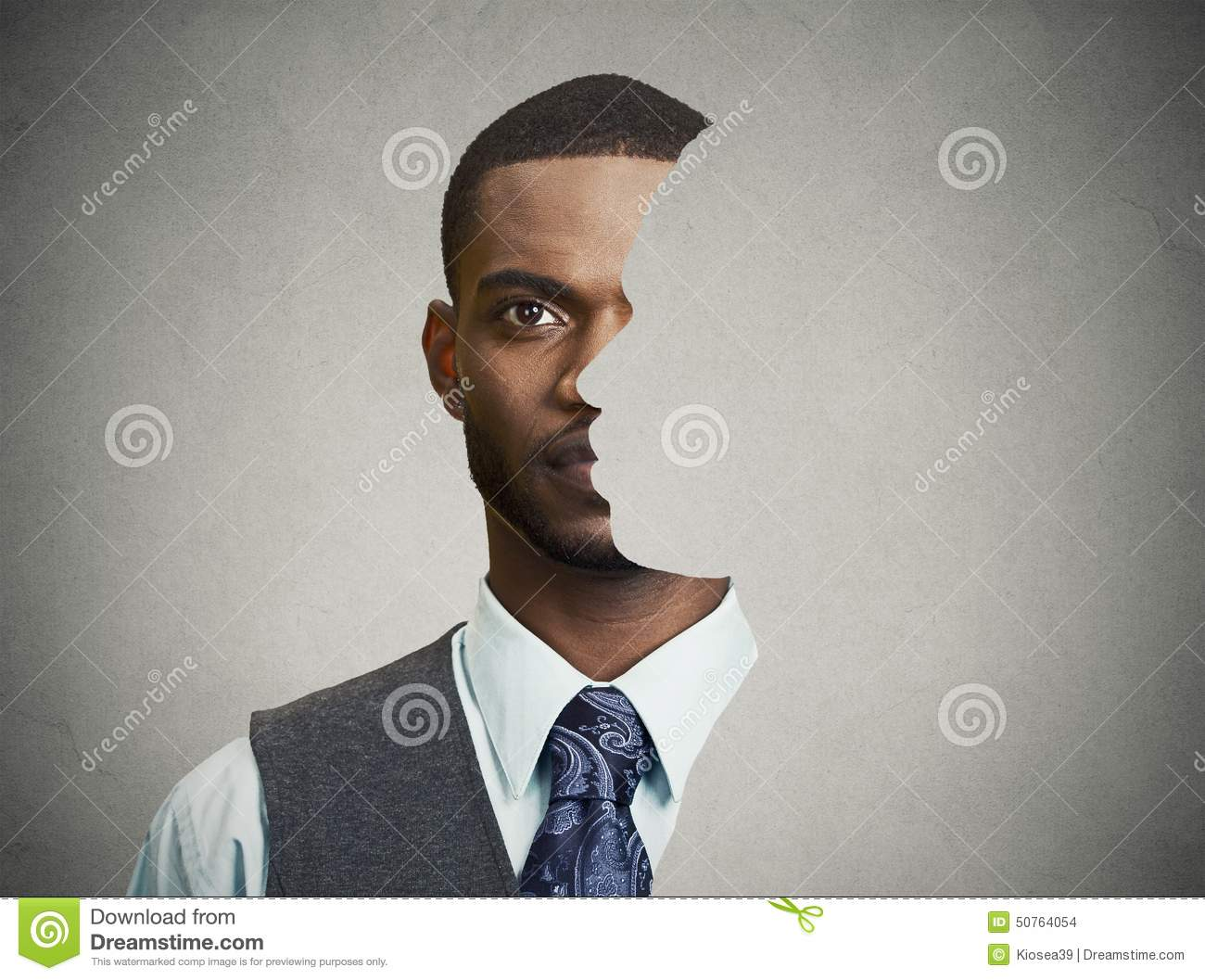 Surrealistic Portrait Front With Cut Out Profile Of A Young Man Stock ...