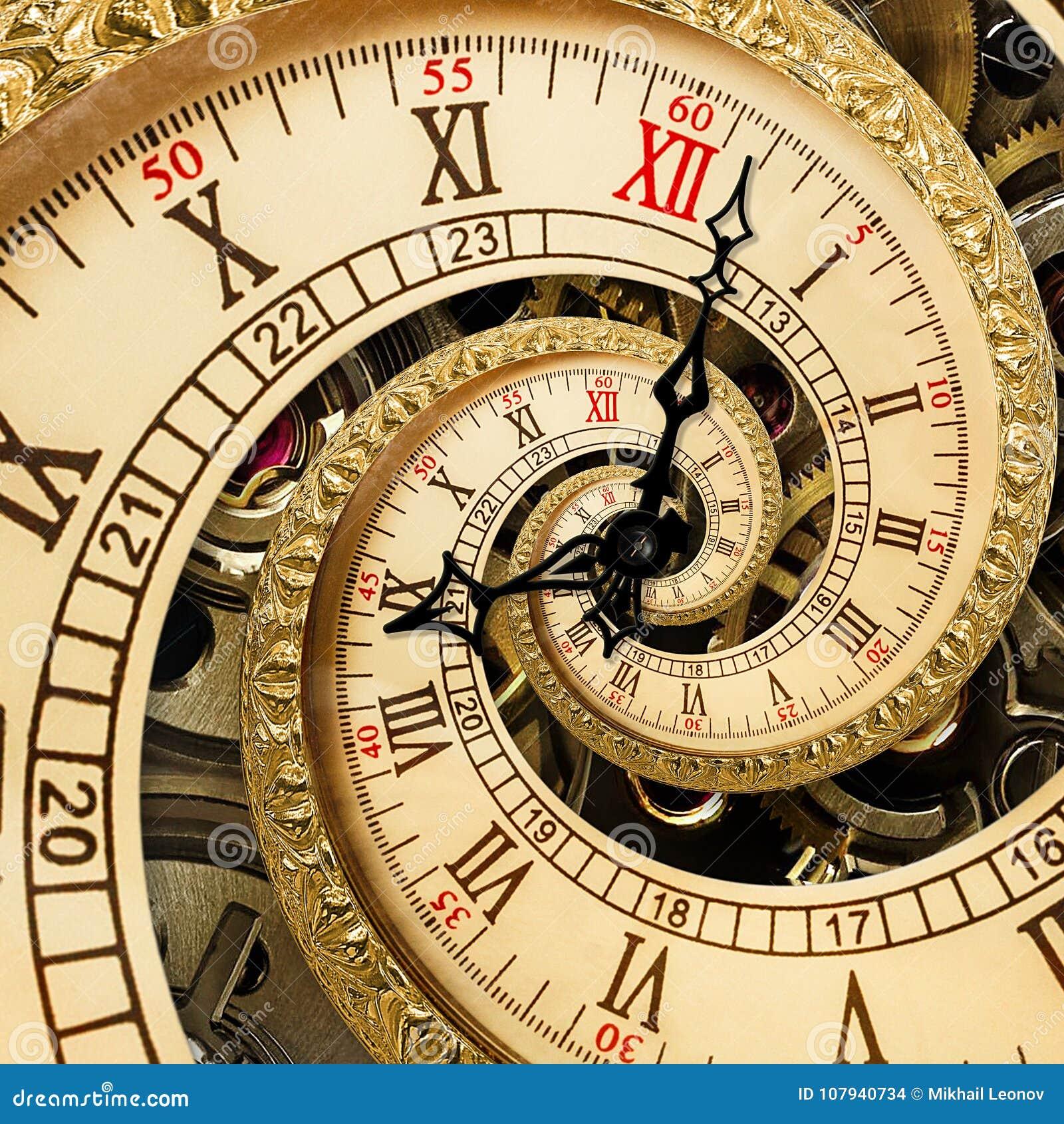 Surrealistyczna antykwarska stara zegarowa abstrakcjonistyczna fractal spirala Zegarków zegary z mechanizm tekstury niezwykłym ab