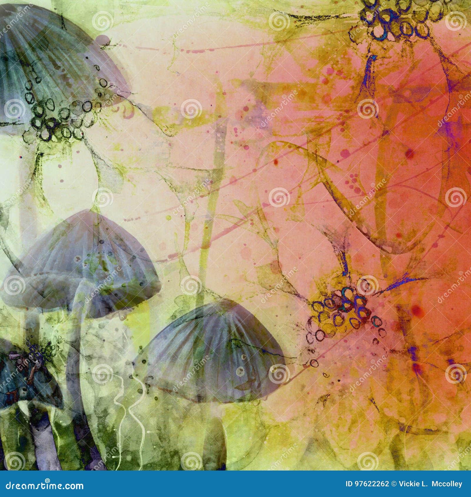 Surrealistyczna kraina cudów Abstracted Grunge pieczarki nakrętki
