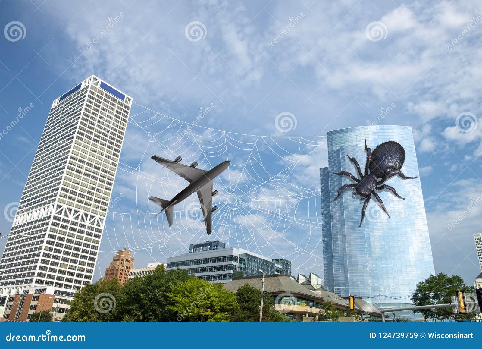 Surrealistyczny Śmieszny pająk, Dżetowy samolot, miasto linia horyzontu
