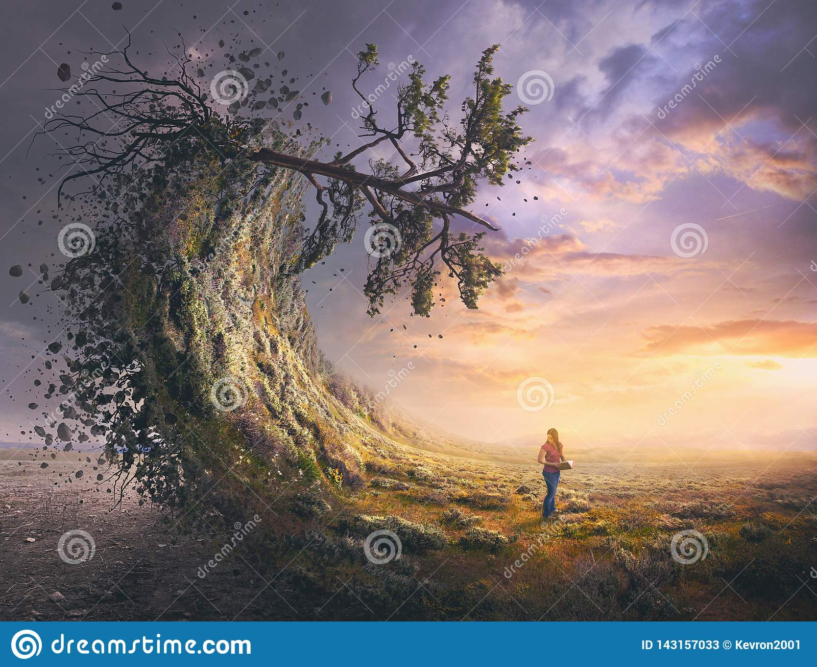 Surrealistyczny krajobraz i kobieta