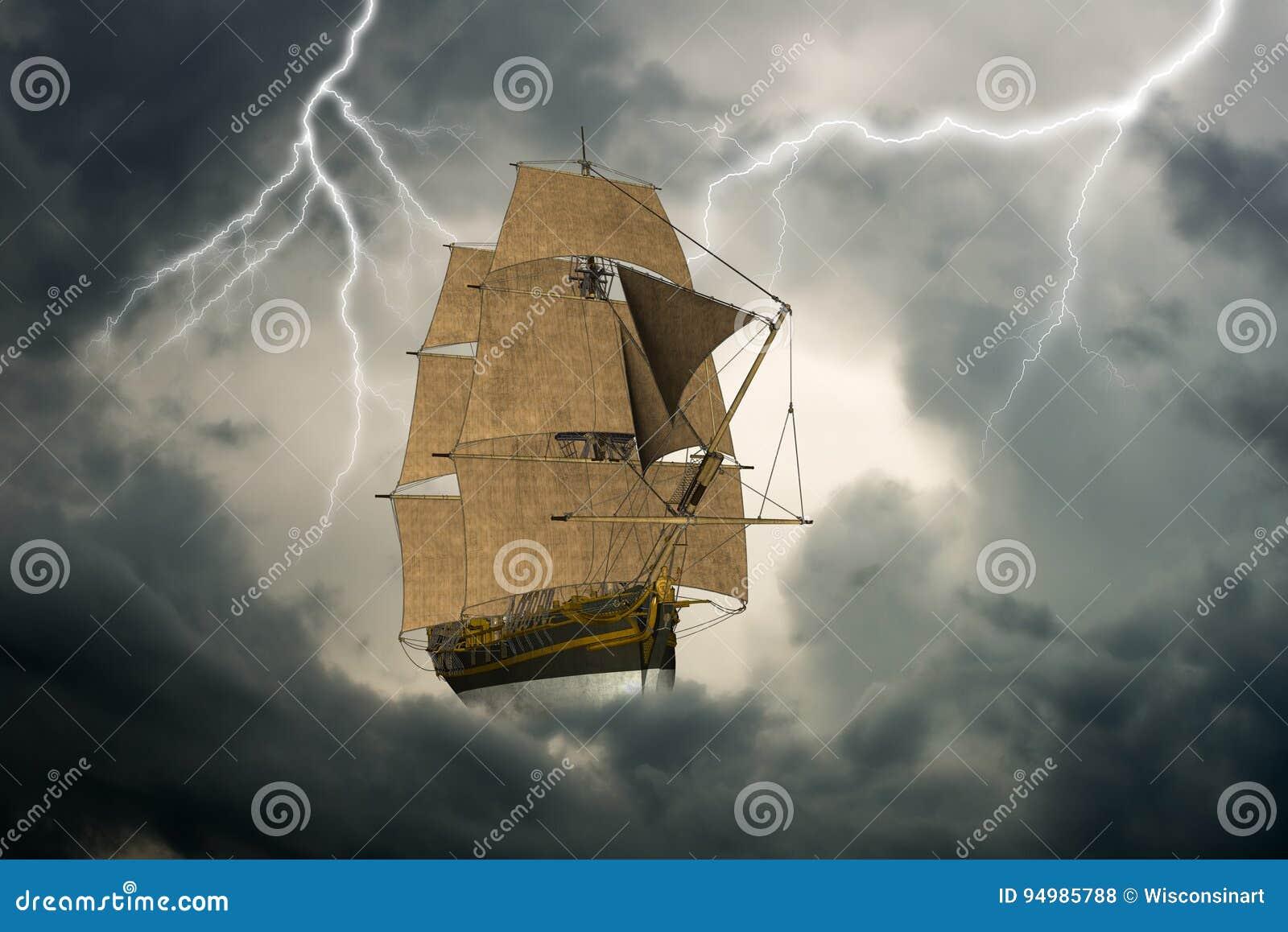 Surrealistyczny Wysoki żeglowanie statek, chmury