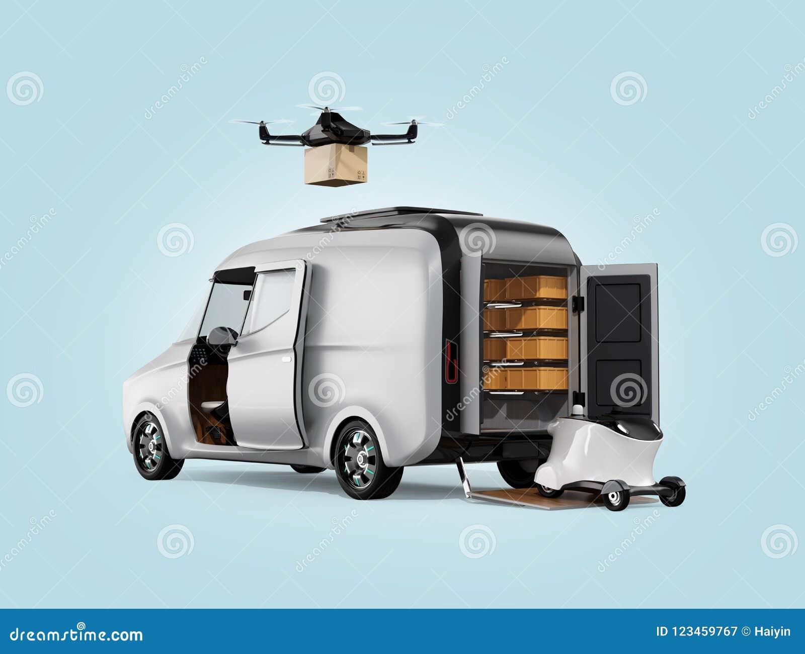 Surret och roboten som lämnar elkraft, drev skåpbilen för att leverera jordlotten