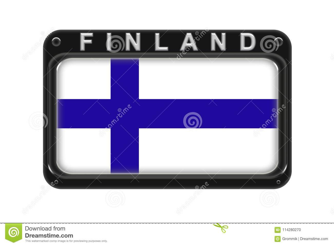 The flag of Finland in the frame with rivets on white background