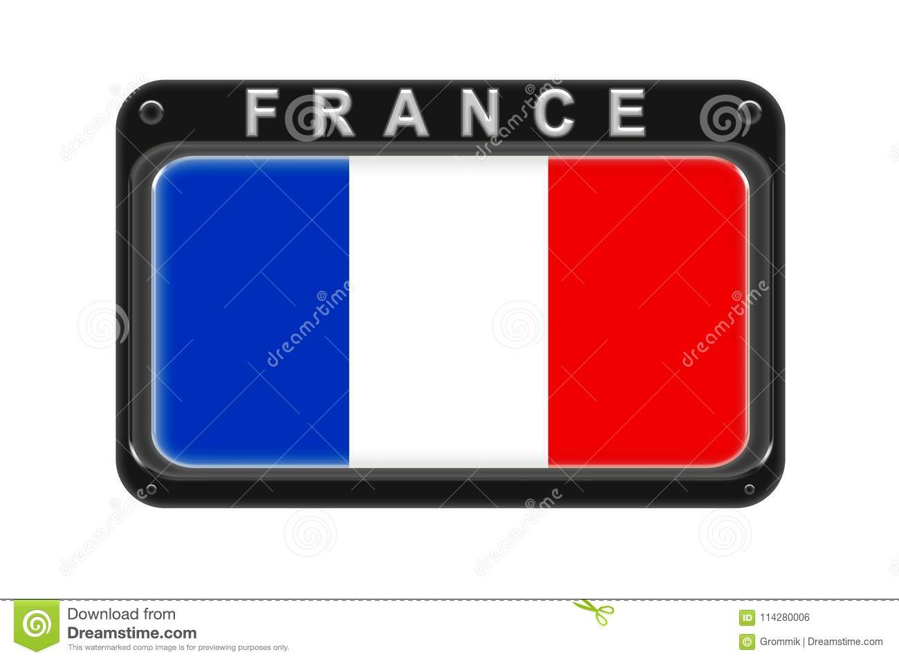 The flag of France in the frame with rivets on white background