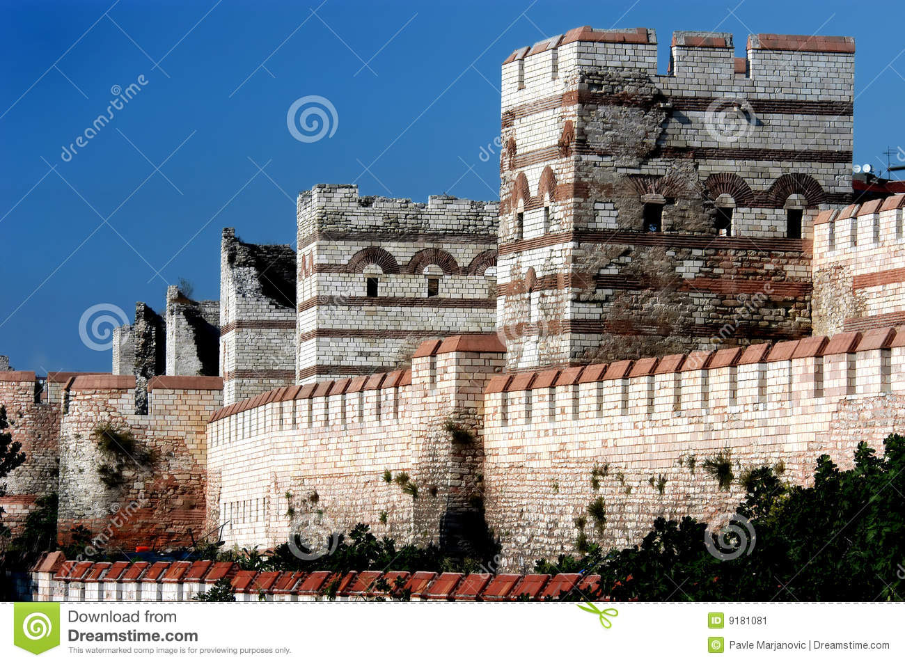 Surrounding Wall Of Ancient City Constantinople Stock ...