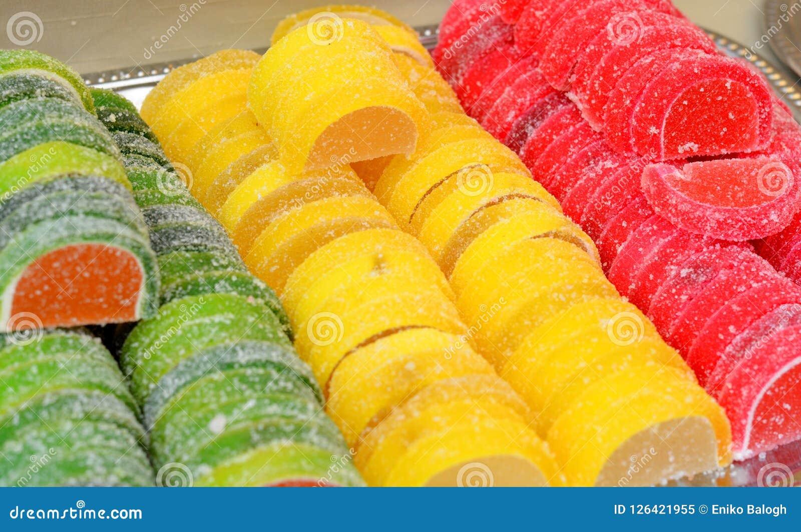 Surtido de caramelo colorido de la jalea de fruta