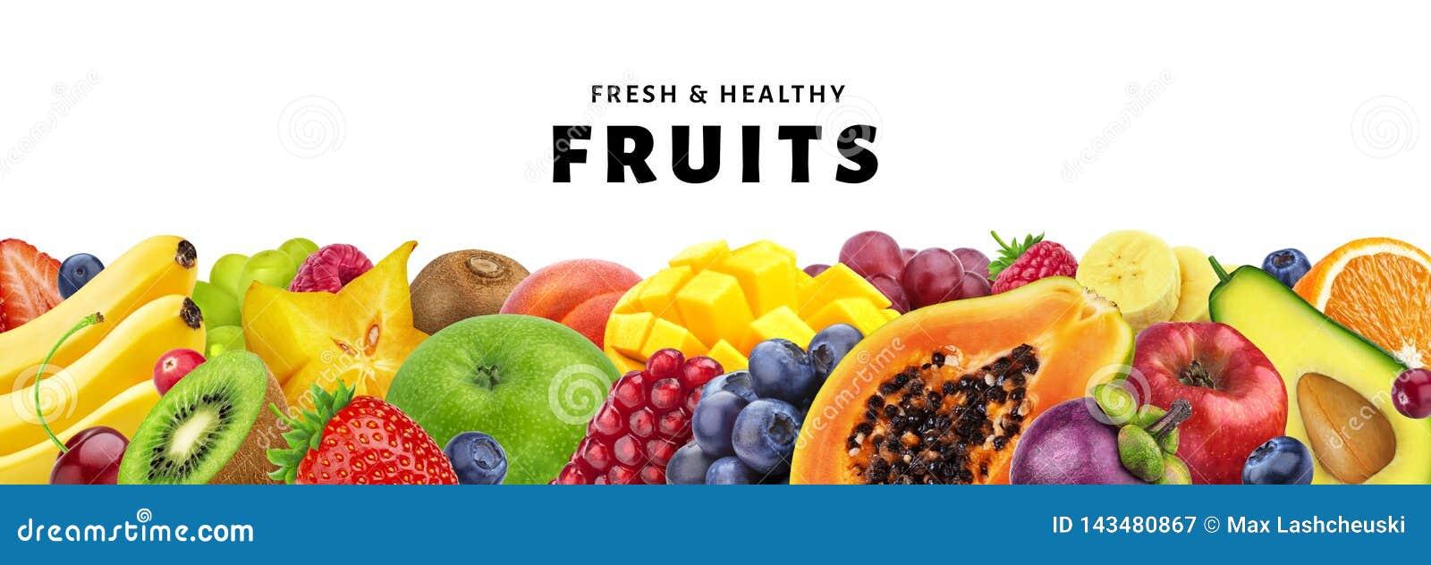 Surtido de frutas exóticas aisladas en el fondo blanco con el espacio de la copia, de frutas frescas y sanas y de primer de las b