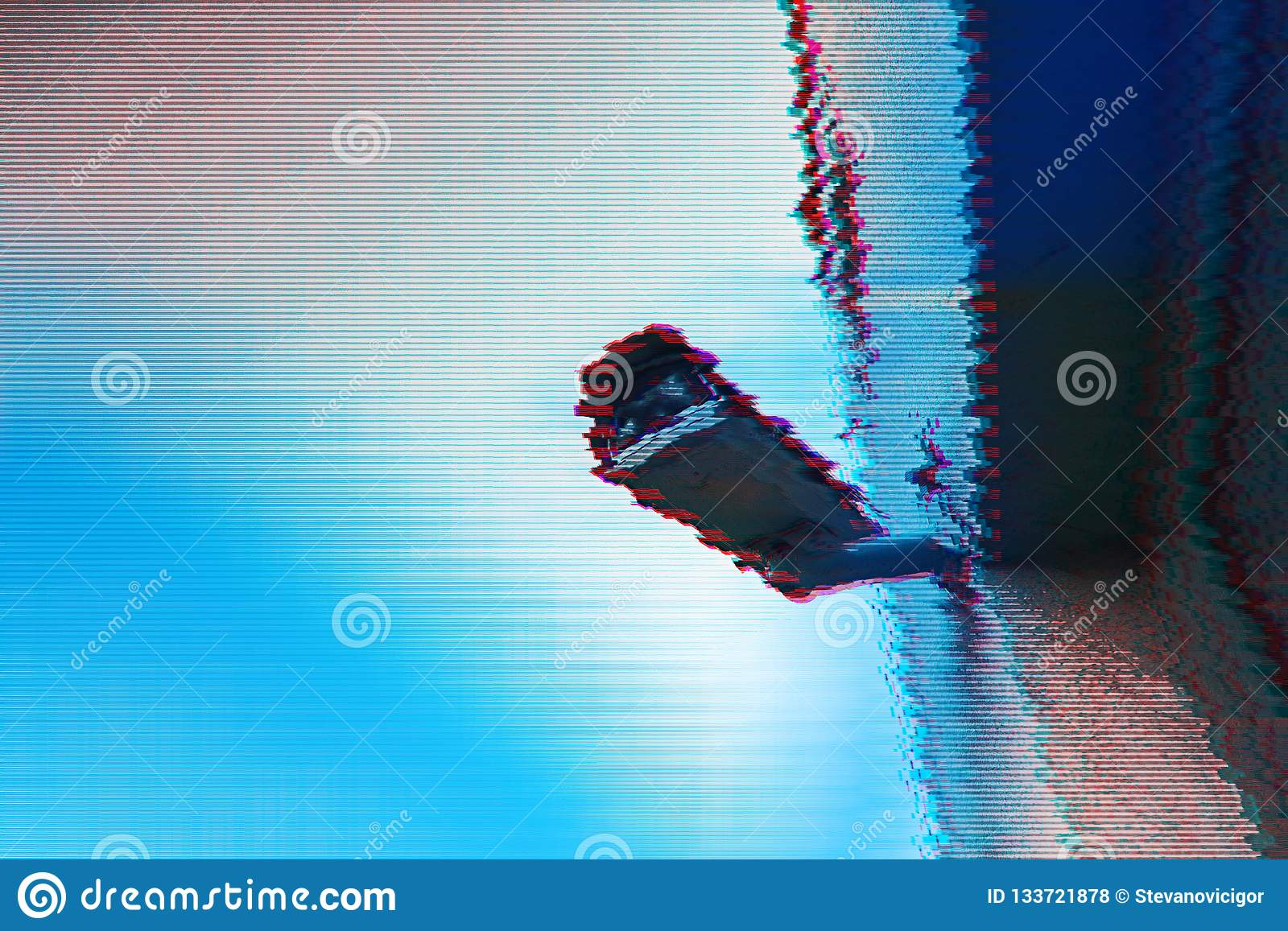 Surveillance Camera With Digital Glitch Effect Stock Photo - Image