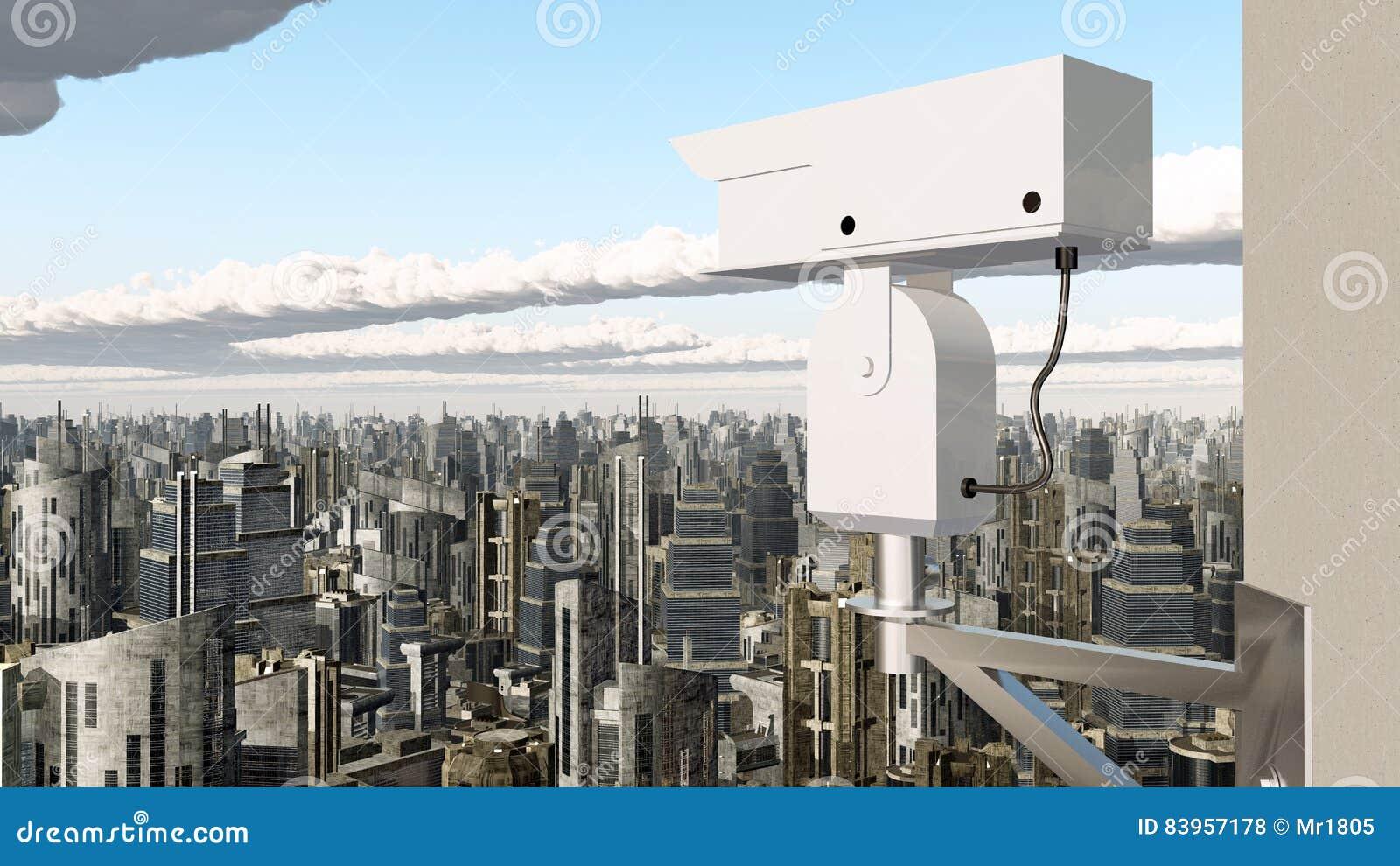 Surveillance Camera Over A City Stock Illustration - Illustration of