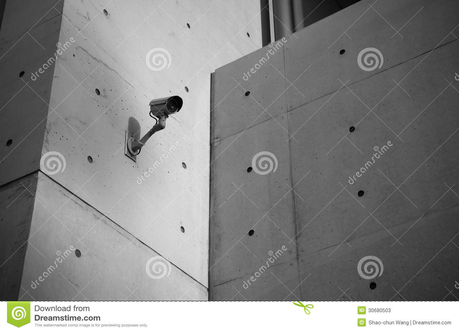 Rock Camera Surveillance : Surveillance security camera with concrete wall stock image image