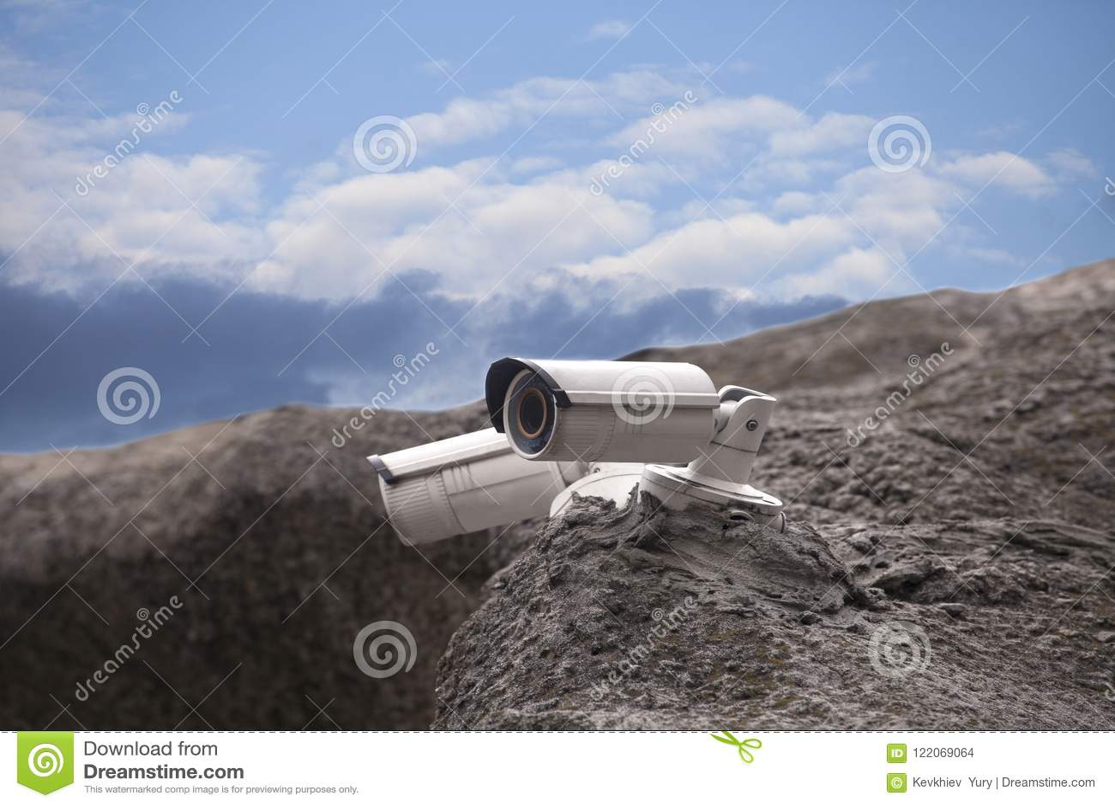 Rock Camera Surveillance : Surveillance security camera stock photo image of concrete