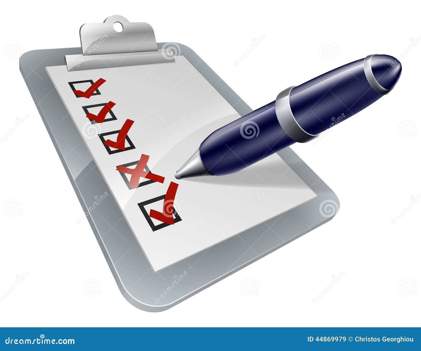 Survey Clip Board And Pen Icon Stock Vector Image 44869979