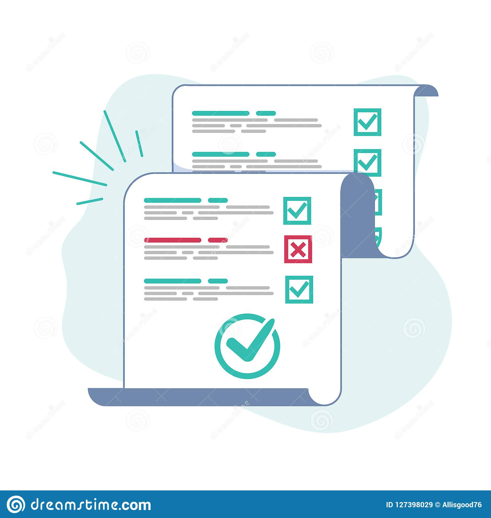 Survey Or Exam Form Long Paper Sheet With Answered Quiz Checklist