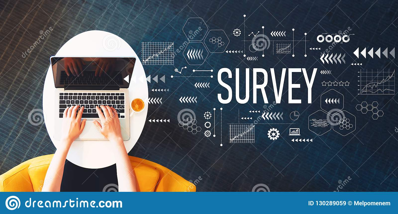 Survey with person using a laptop