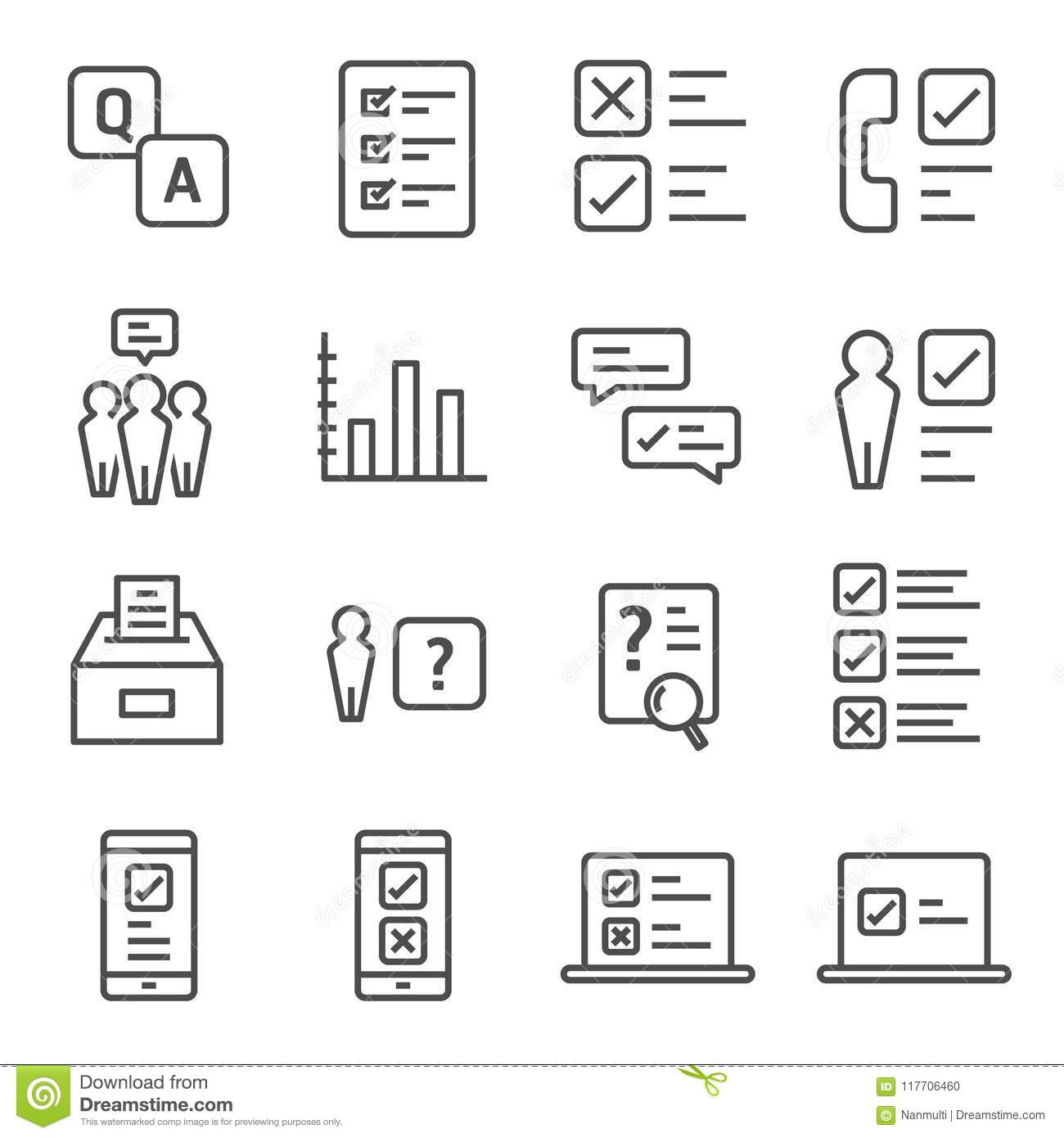 Survey and Questionnaire vector icon set. Included the icons as checklist, poll, vote, mobile, online survey, phone interview, res