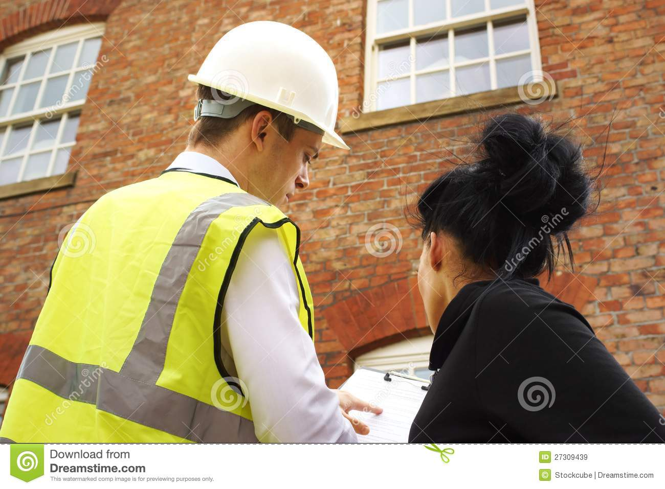 Download Surveyor Or Builder And Homeowner At A Property Stock Image - Image of male, horizontal: 27309439
