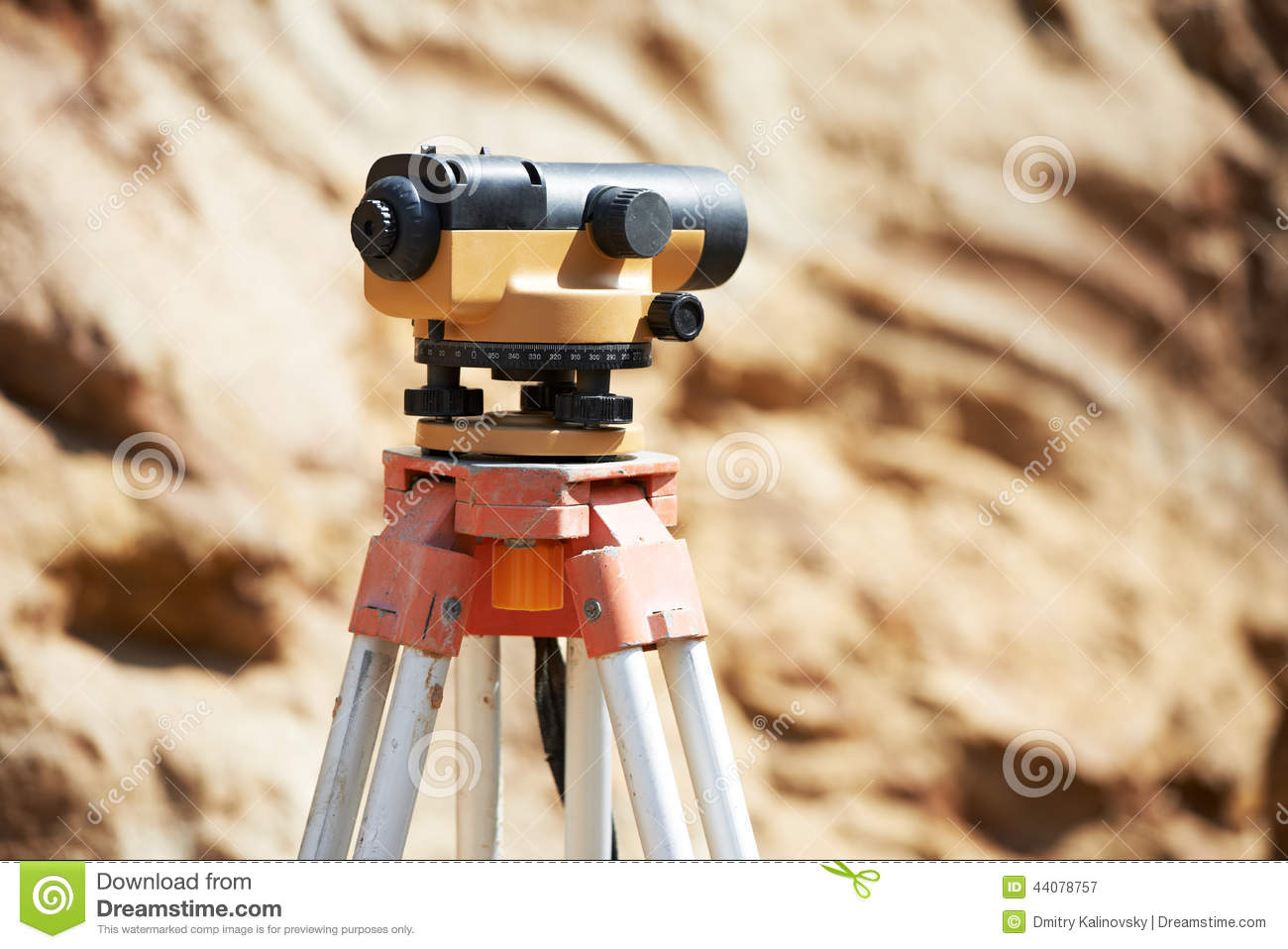 Equipment optical level or theodolite outdoors at construction site