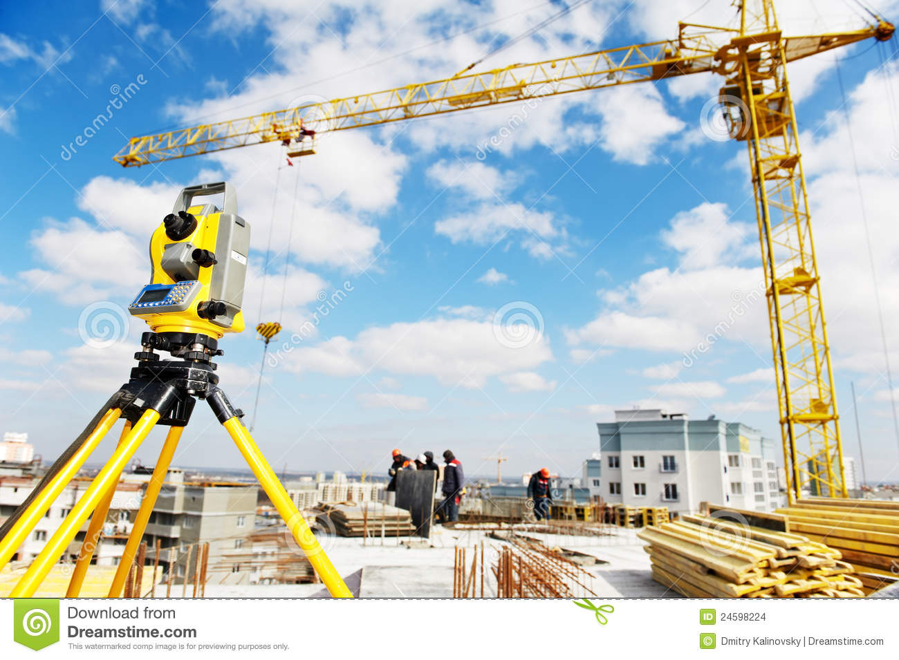Surveyor Equipment Theodolite At Construction Site Stock